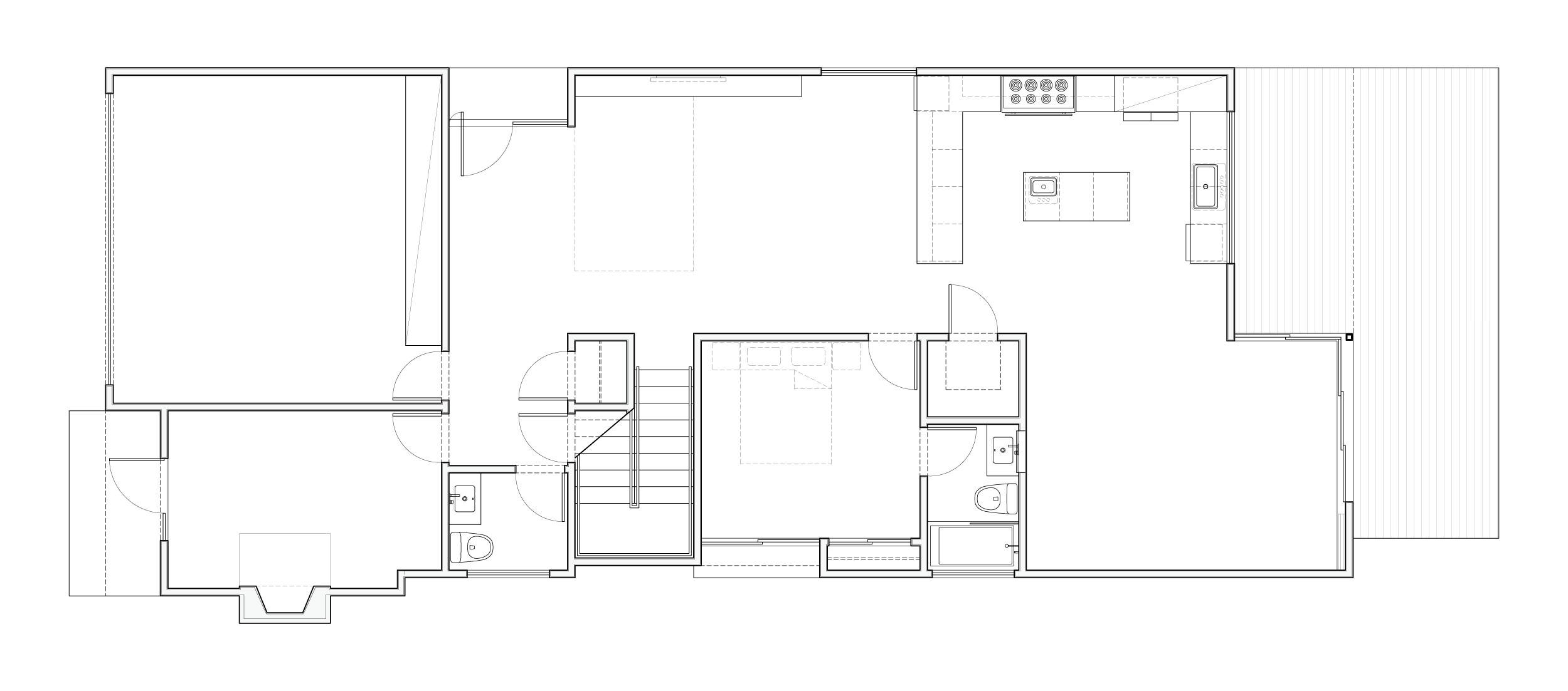 First floor plan showing the open living space that connects to the backyard.