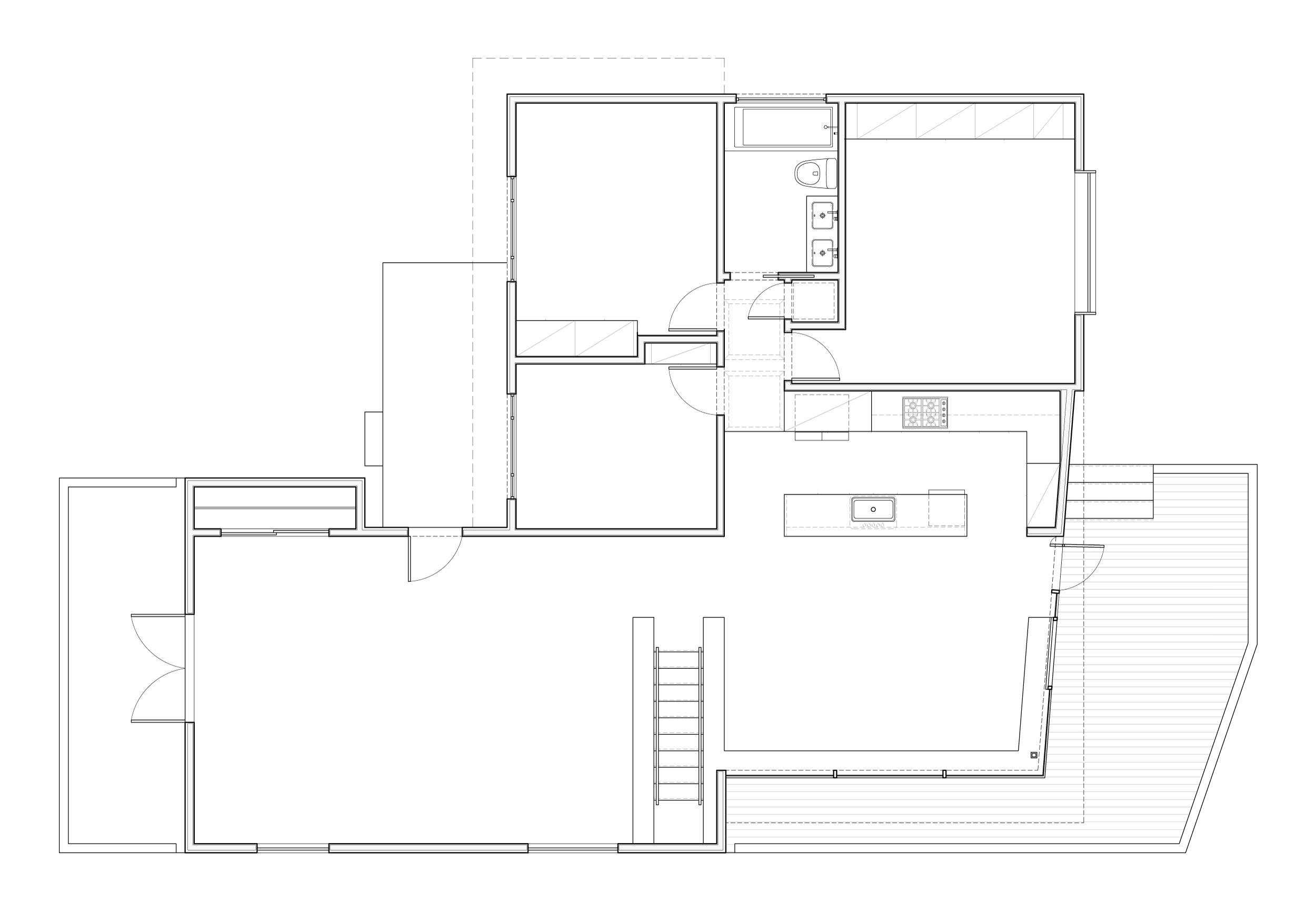 The proposed plan showing the addition which connects the living room to the  dining room and kitchen seamlessly.