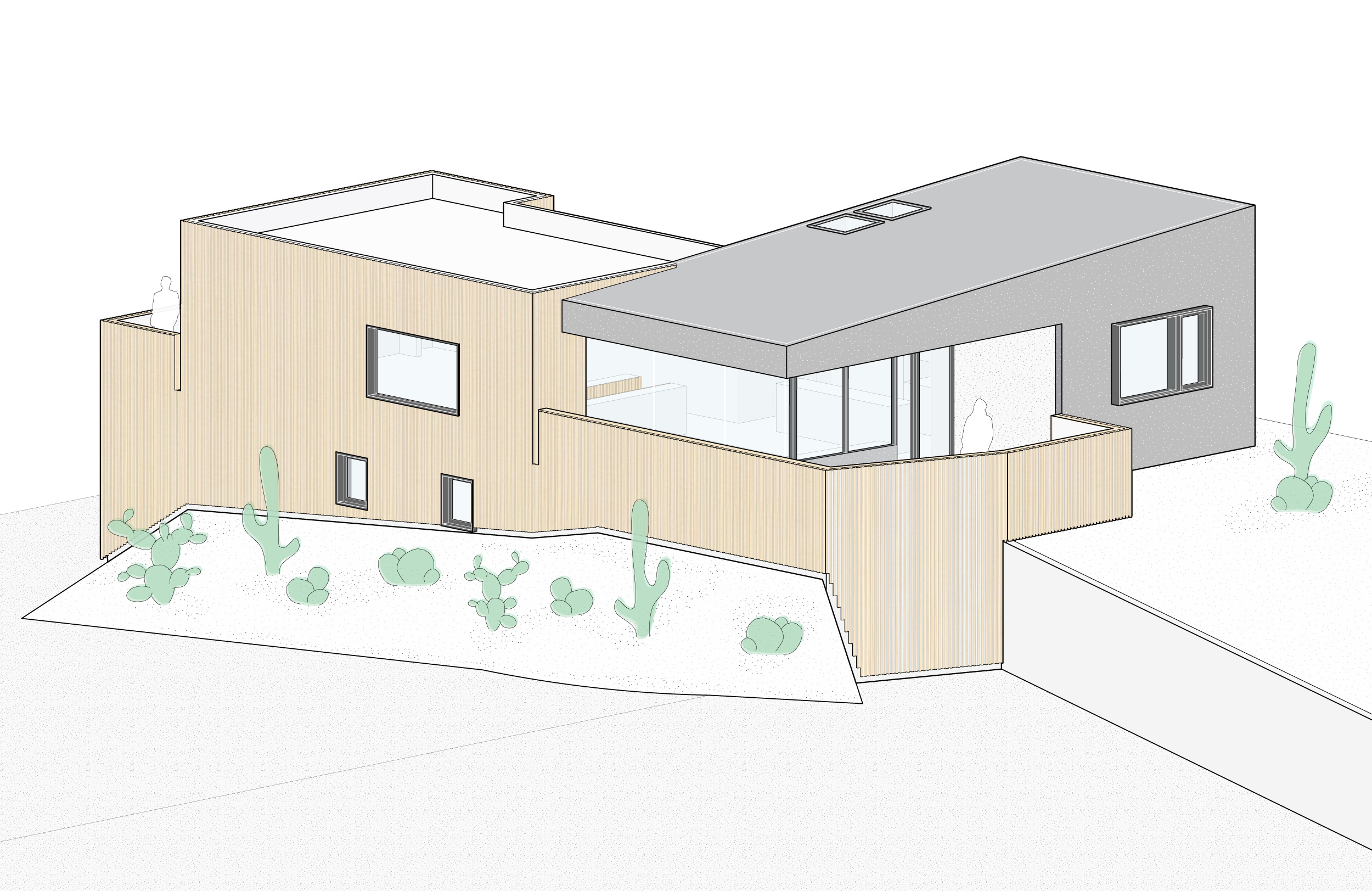 Isometric drawing showing the cedar cladding that wraps the dark stucco addition.