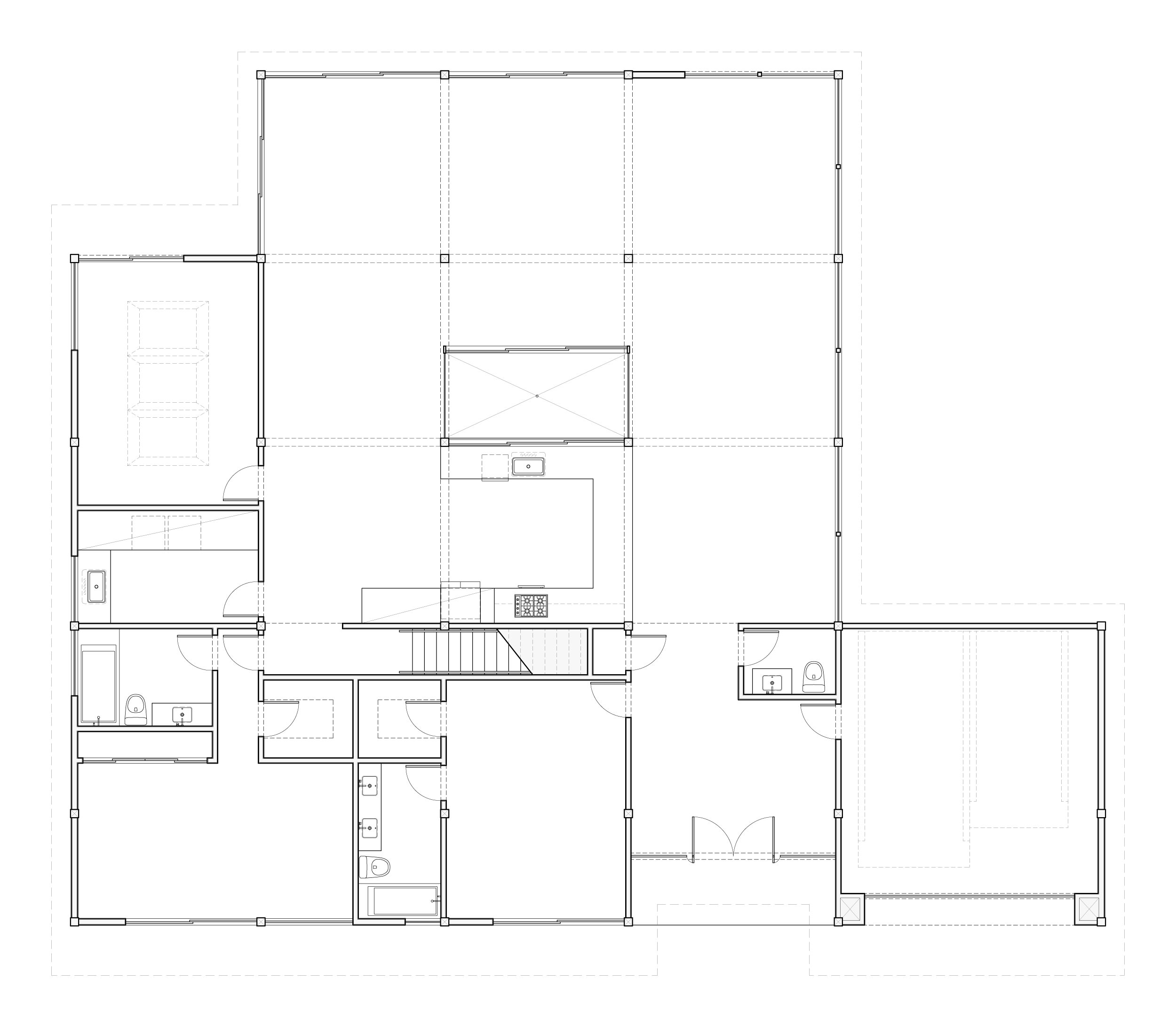 First-floor showing the nine-square plan of the open kitchen and living spaces that connect to the pool deck.