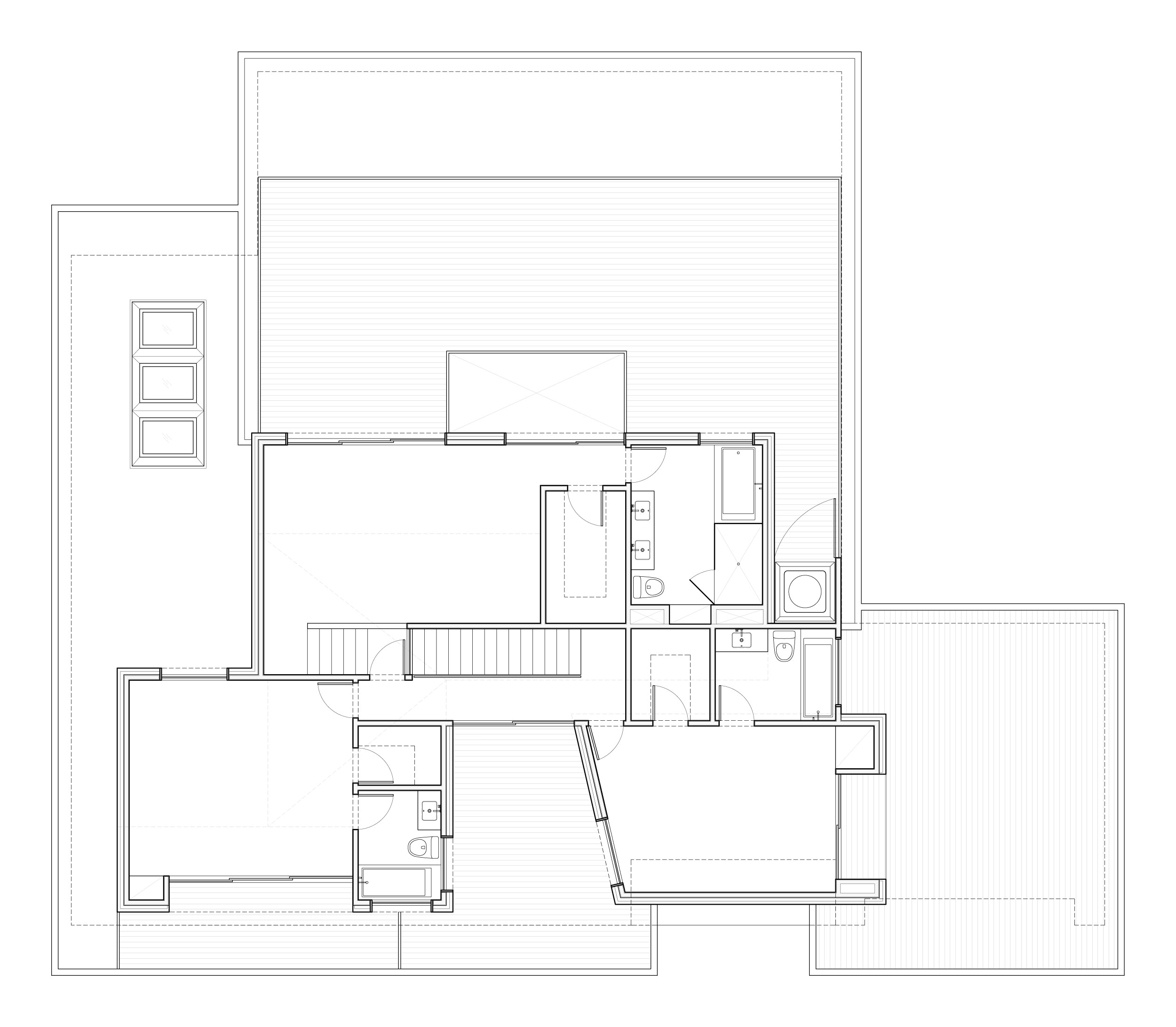 Second-floor plan showing the three bedroom suites- each with a private deck and large doors that open to the view.