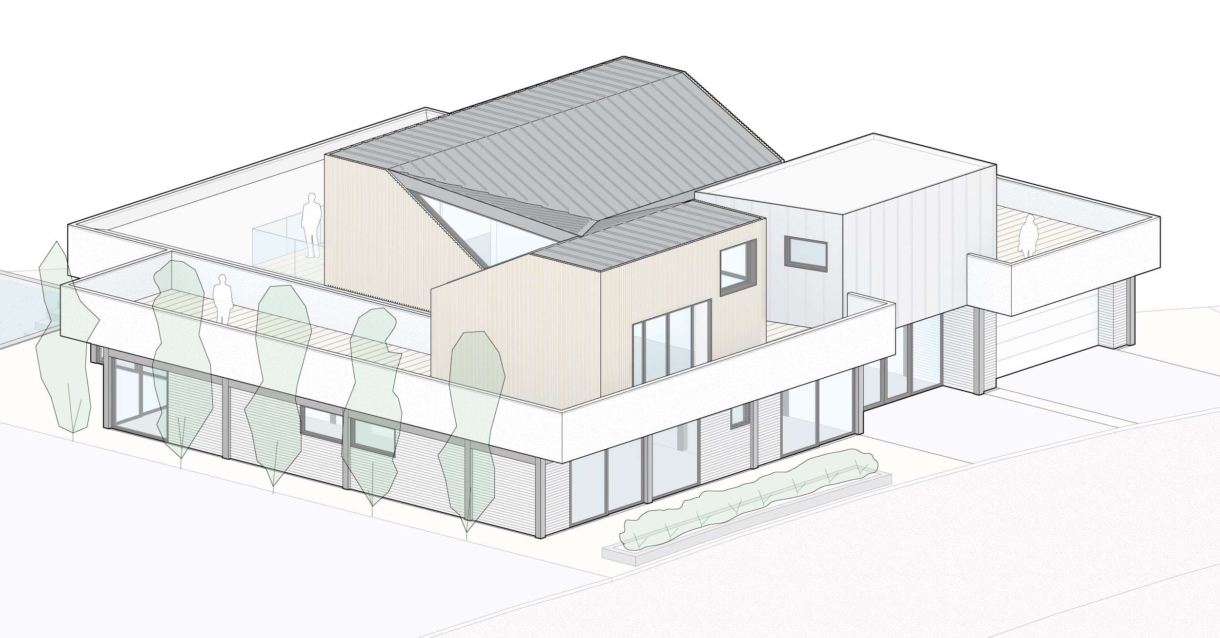 Isometric showing the cedar and metal clad bedrooms with the living space below.