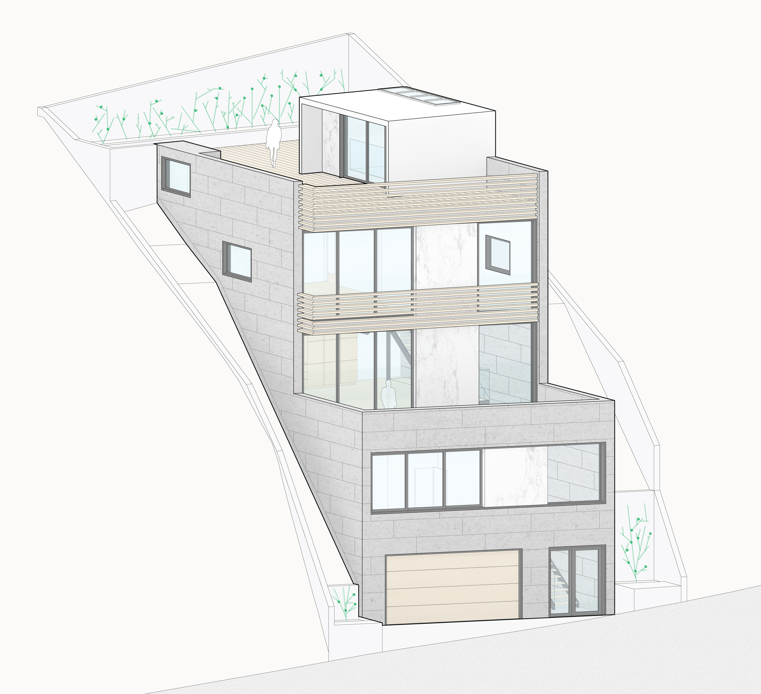 Isometric view of the front facade.