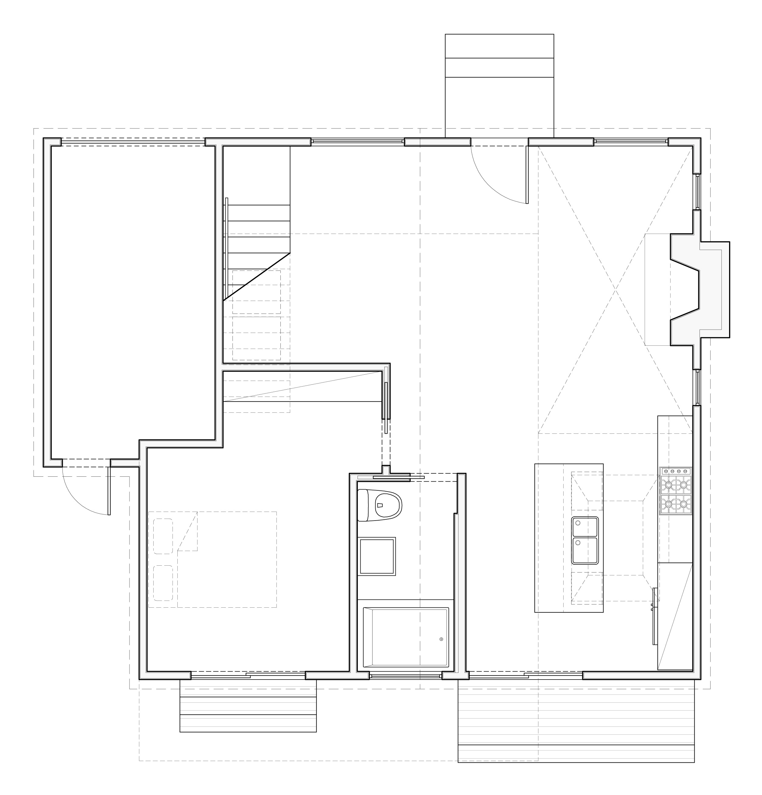 Plan of the existing house with new stair to the second story addition.