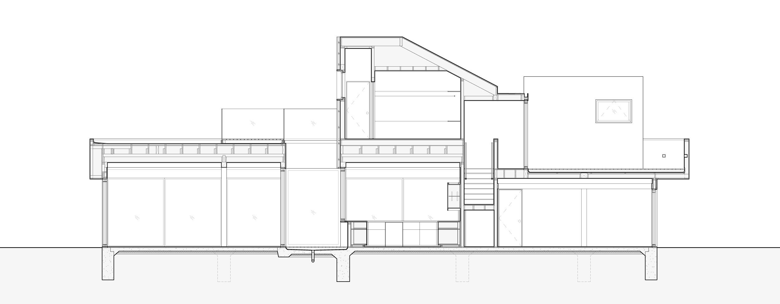 Section through the kitchen and master suite.