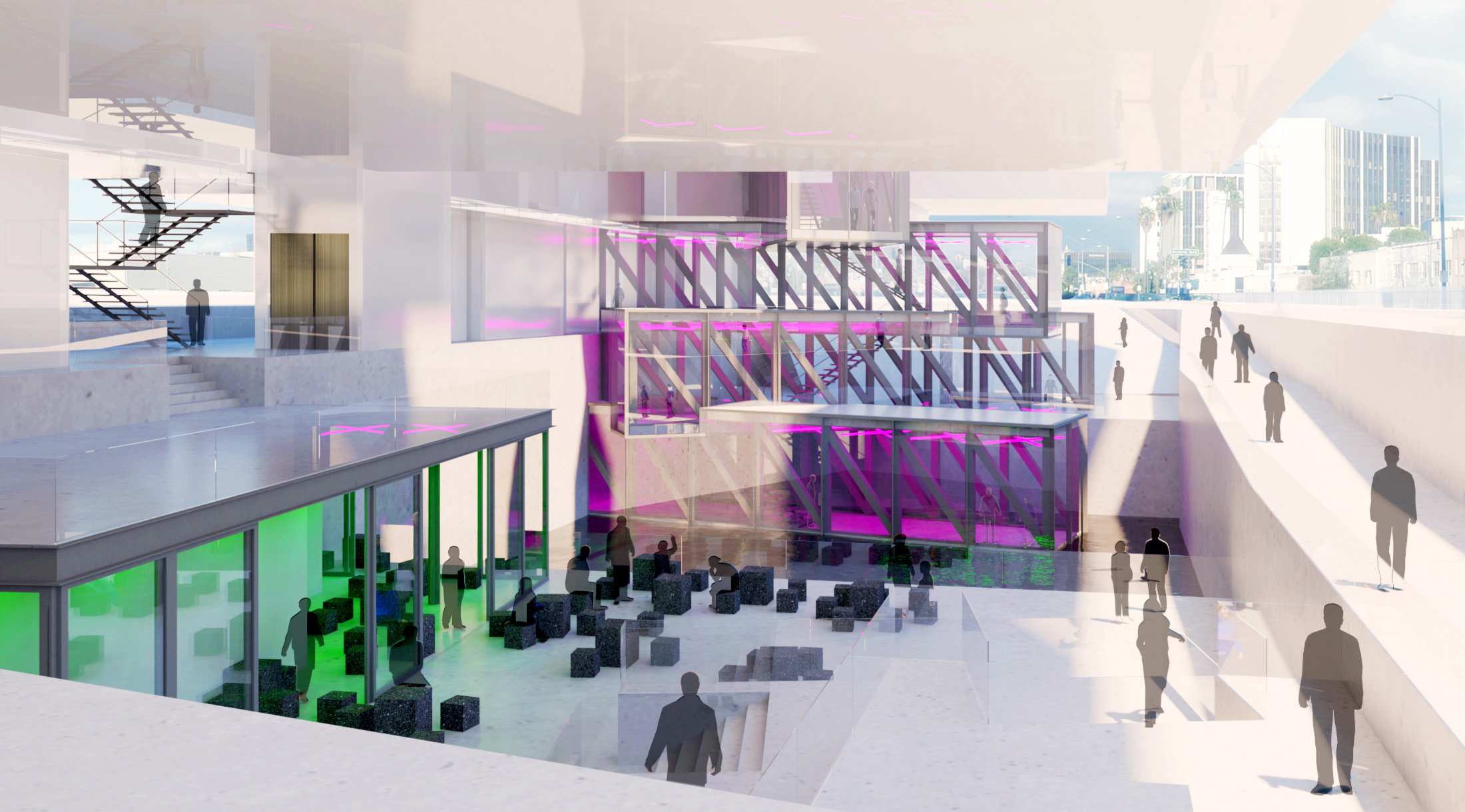 Rendering showing the cafe, public plaza, and suspended galleries.