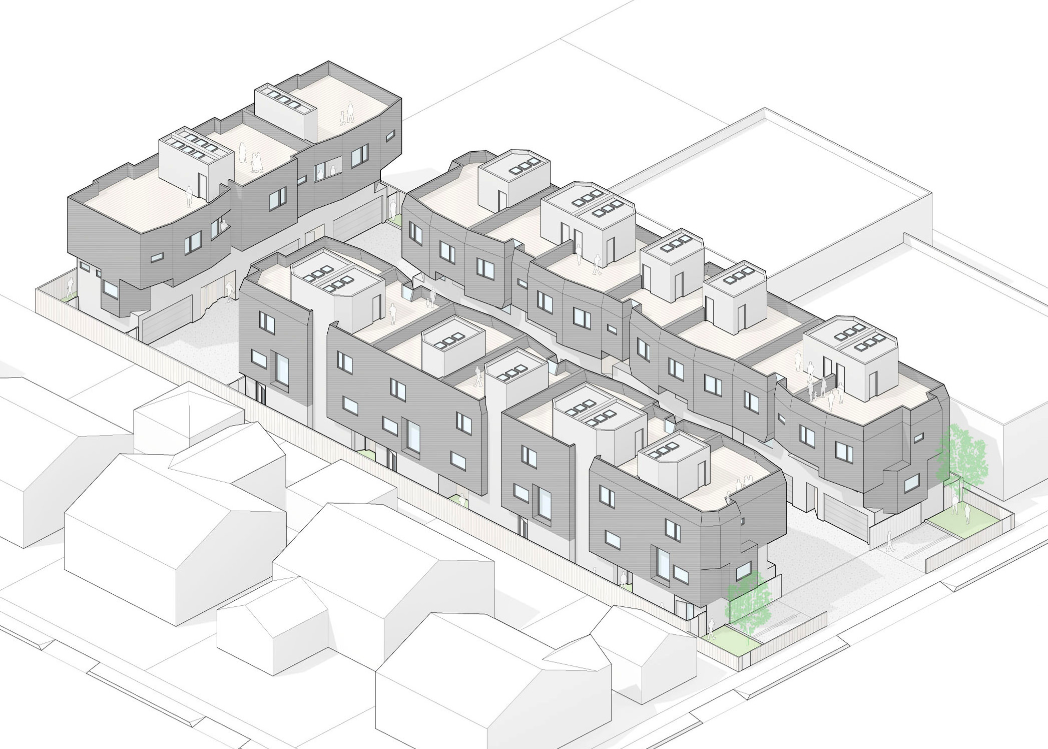 Isometric drawing of the 17 units.