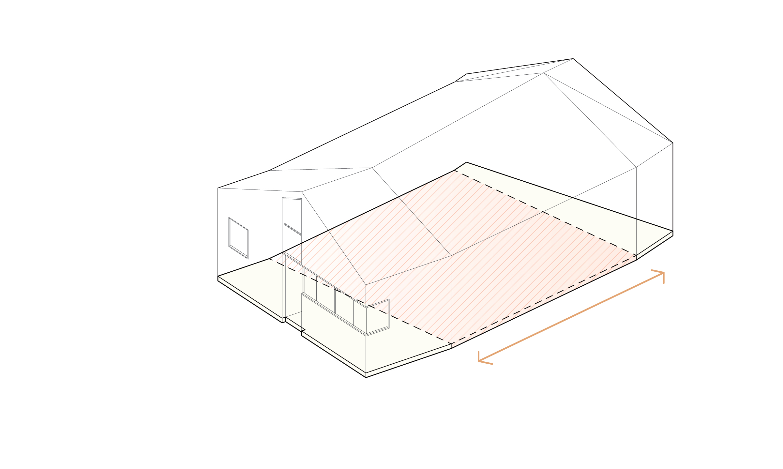 The spacing between the bookends determines the floor area.