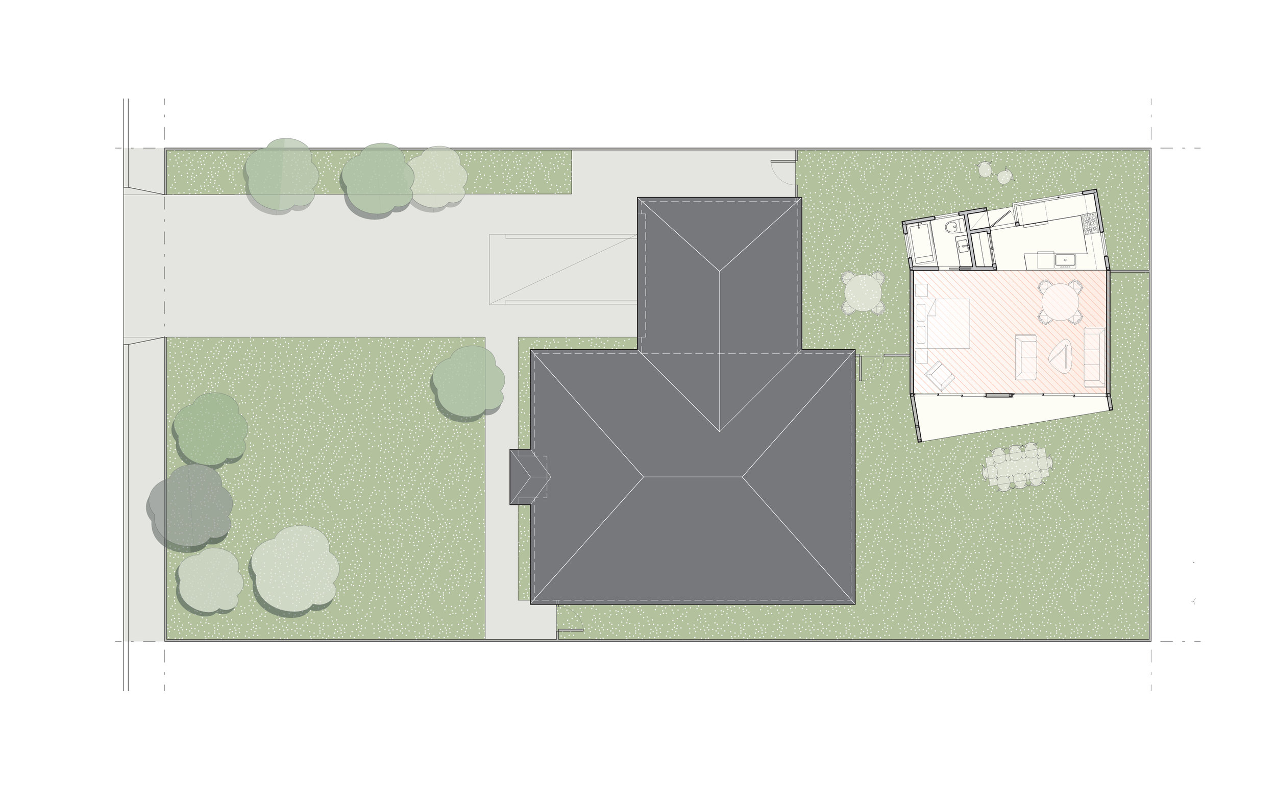The site plan showing the single-story, studio scheme to the rear of an existing house.