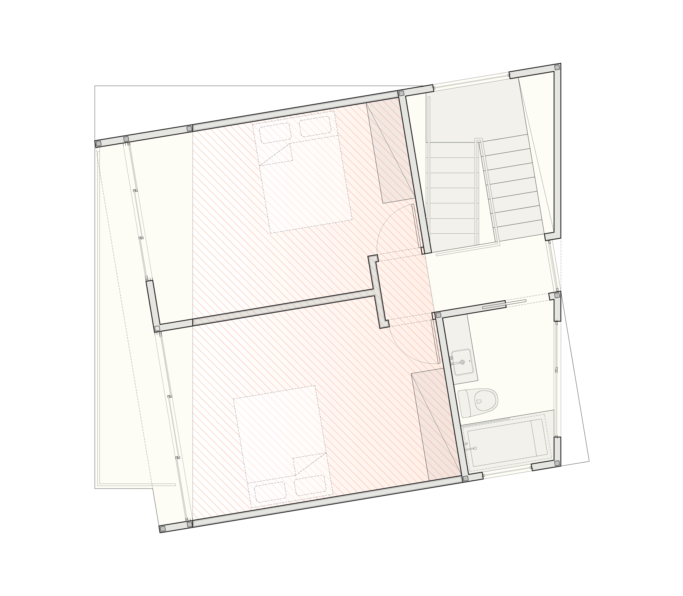 The second-floor plan of the two story, two bedroom scheme.