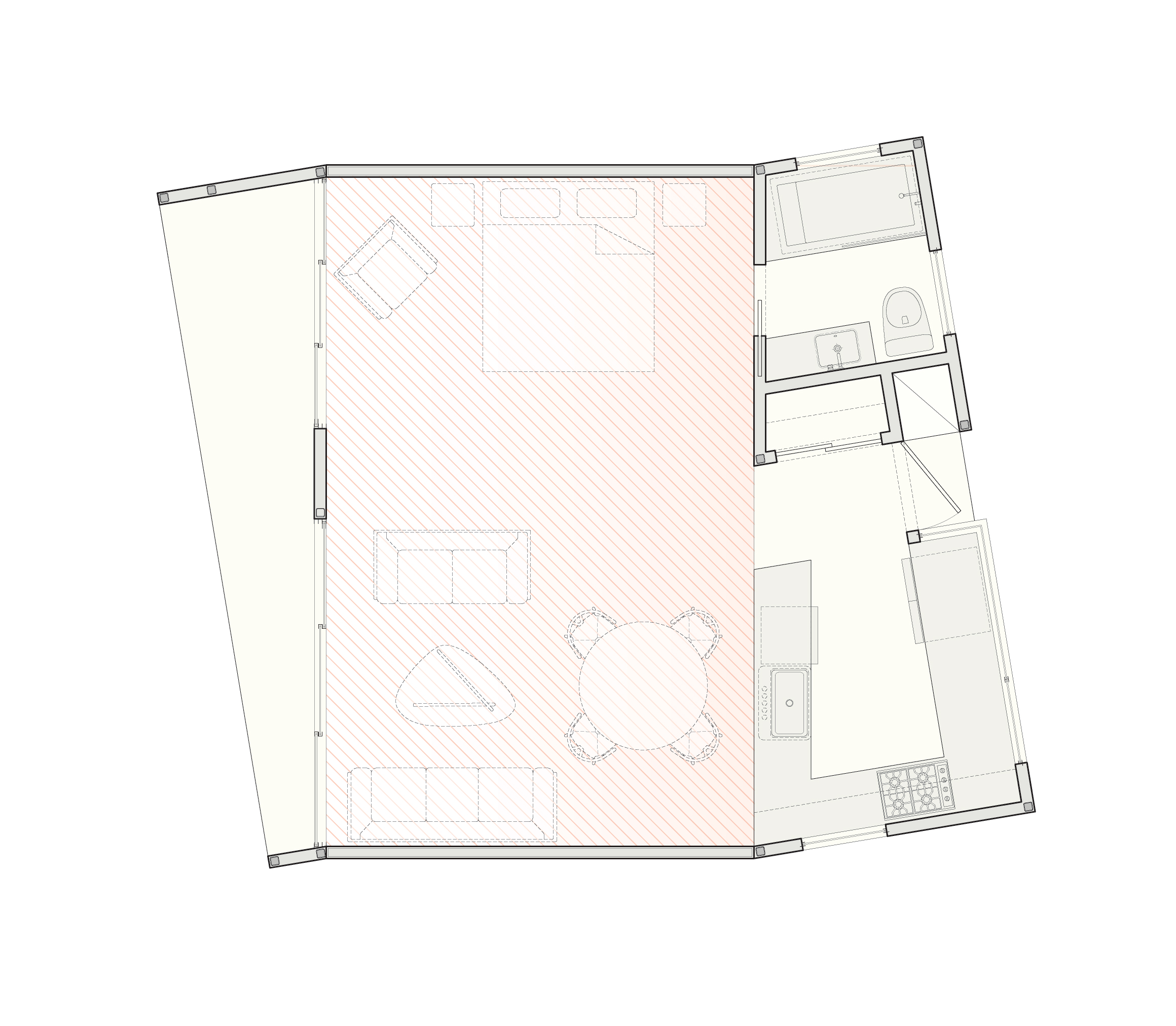 The ground-floor plan of the single-story, studio scheme.