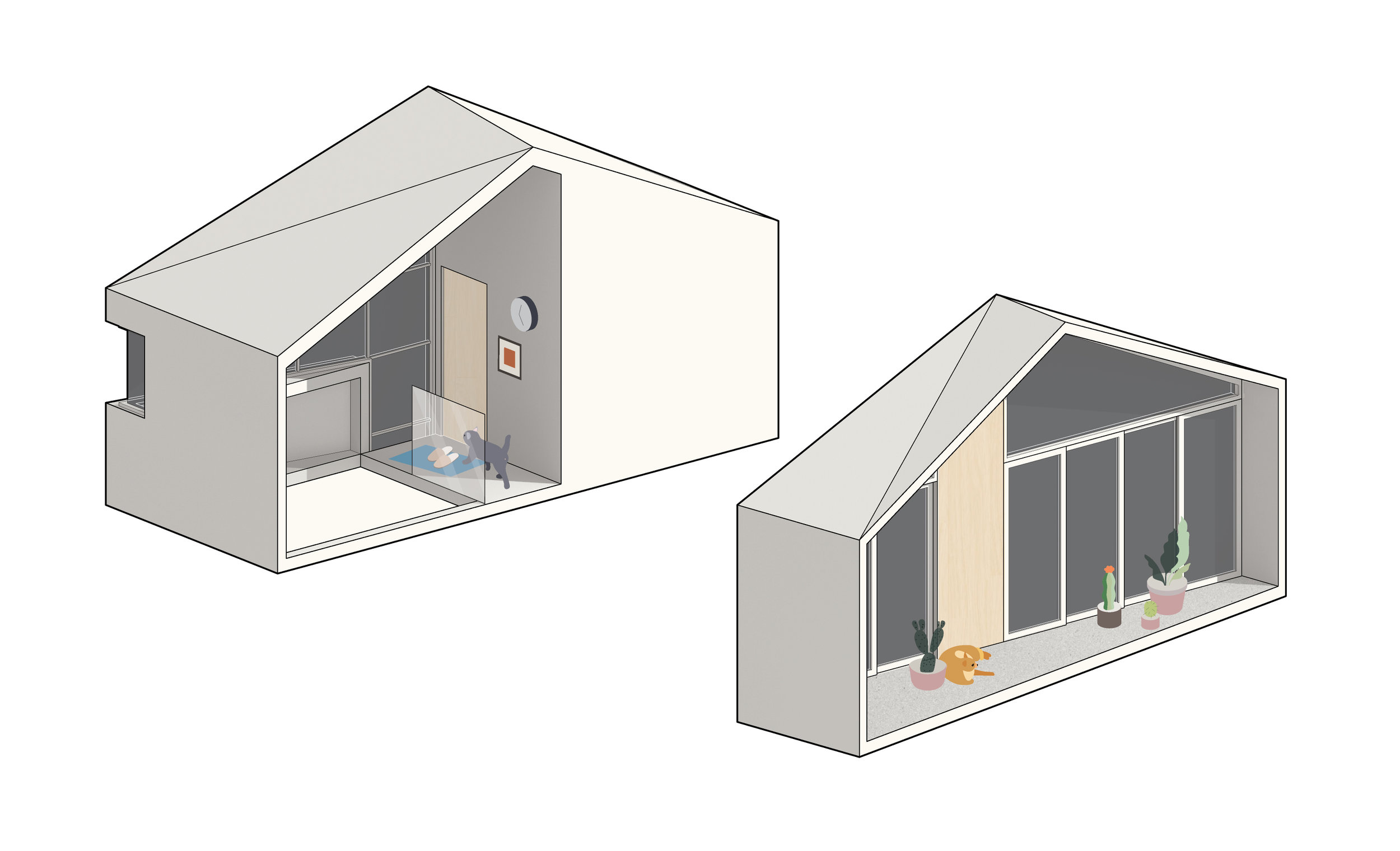"""Second-floor """"A"""" bookend (left) incorporates the bathroom and stair. Second-floor """"B"""" bookend (right)incorporates glazing and the door systems. The doors are setback to provide an optional balcony."""