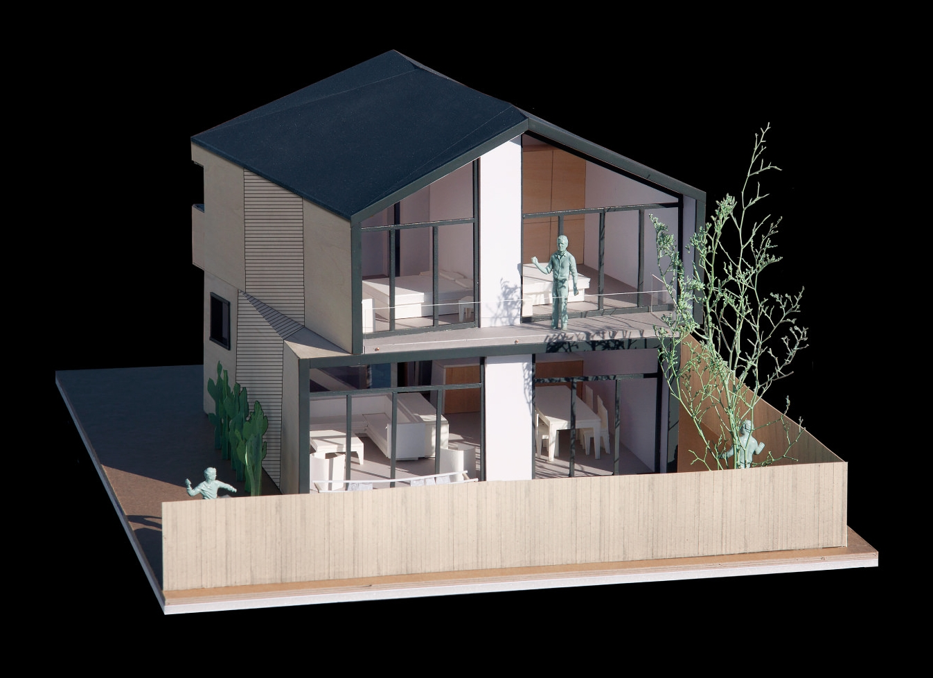 A model showing the rear of the two-story option.