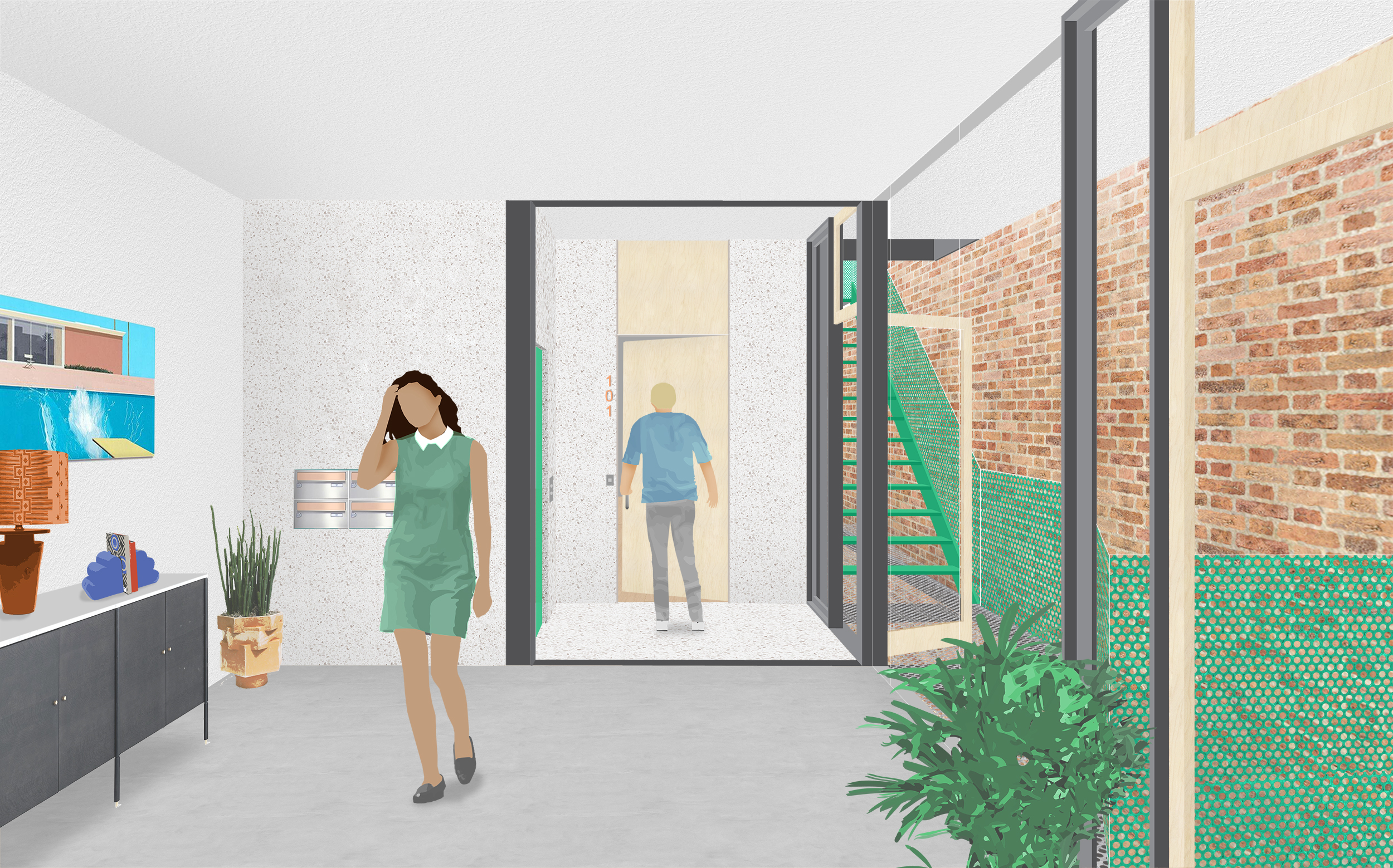 "View from entry through lobby to the elevator core (green door). The lobby has direct access to outdoor balcony at the lowest level of the ""pocket"" space."