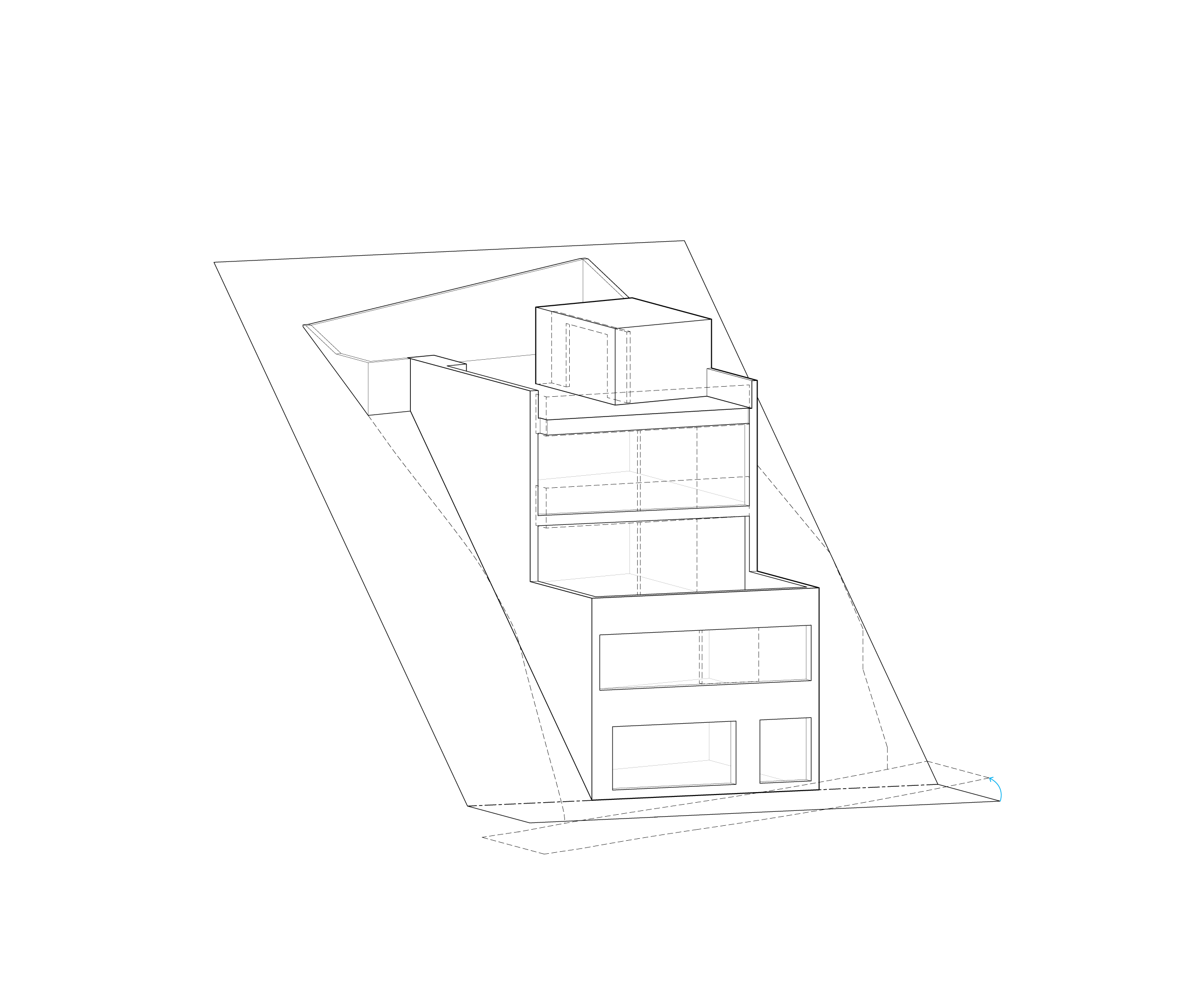 Horizontal balconies protrude from the front facade, extending the interior space towards the view and a band of walls creates a vertical element that provides structural continuity. Finally, retaining walls are added along the sideyards to confirm the building to the steep site.