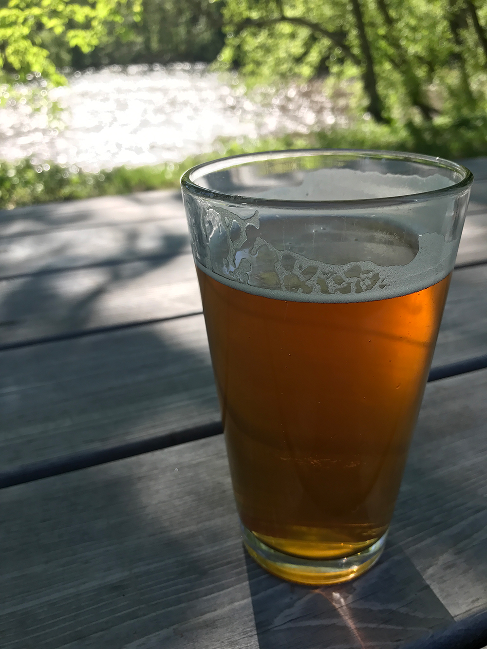 Enjoy a locally-brewed craft beer by the river at New Belgium in Asheville, NC.