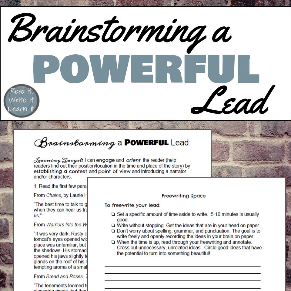 Grab this freebie to help your students brainstorm powerful leads using mentor texts!