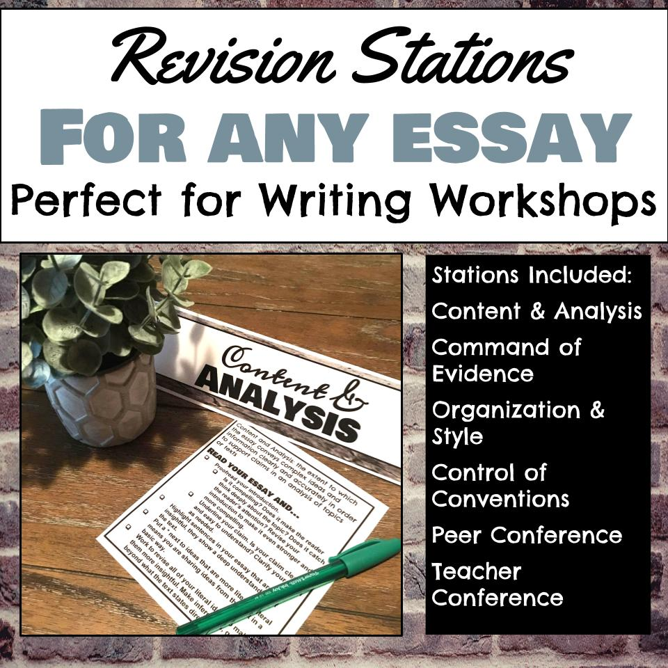 Click the image to download these free revision stations for any essay!