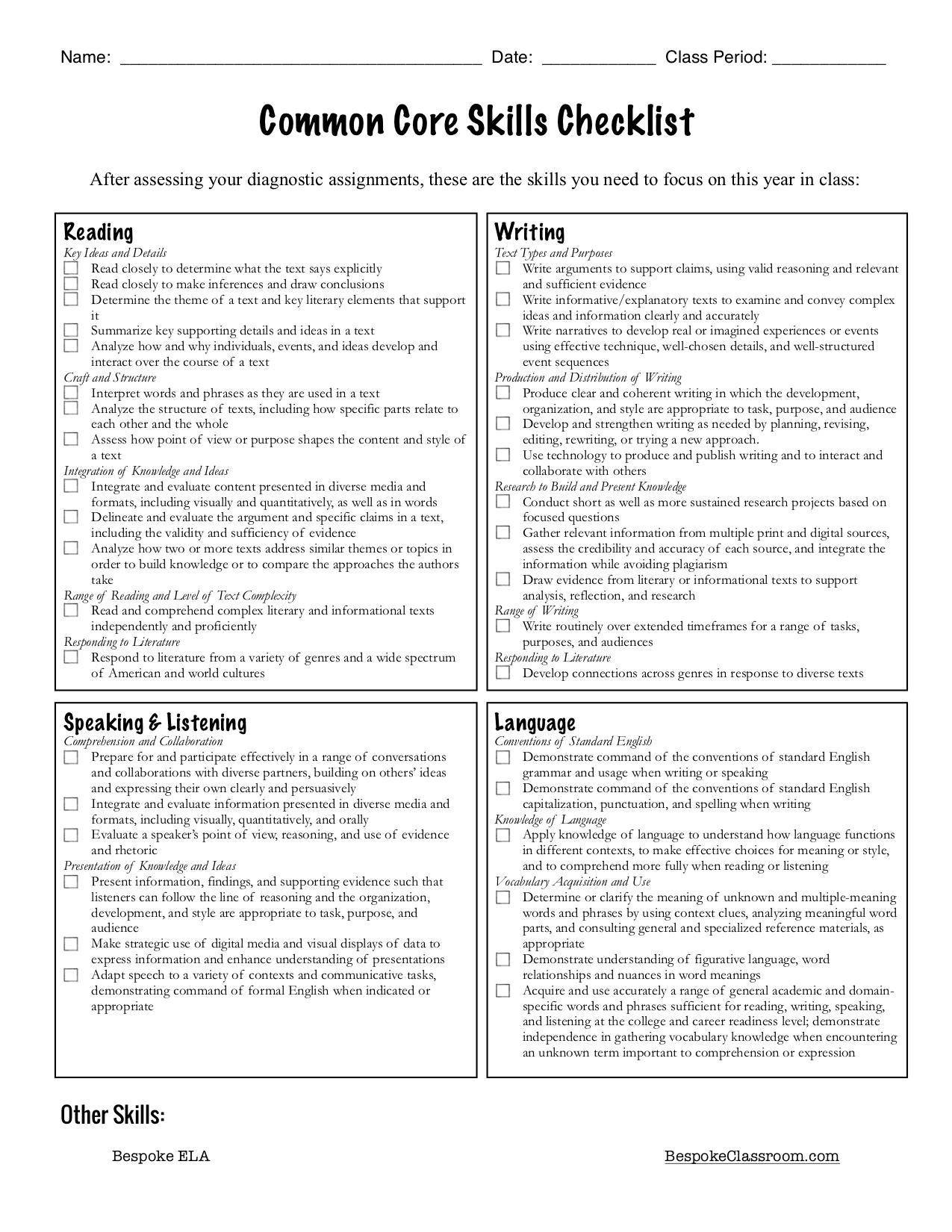 Diagnostic Assignment Bundle for High School ELA by Bespoke ELA checklist.jpg