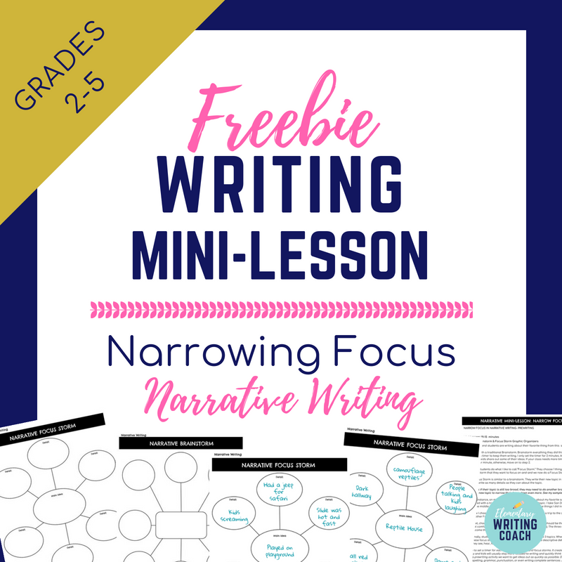 Narrative Writing Mini-Lesson: Narrow Focus — TeachWriting org
