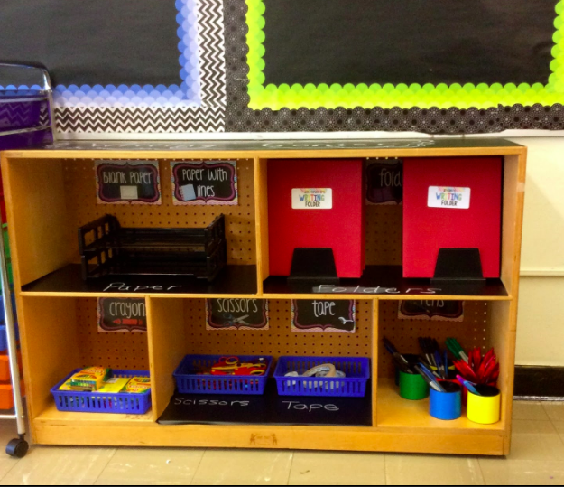 First grade classroom writing center with all of the materials are organized and easily accessible for students.