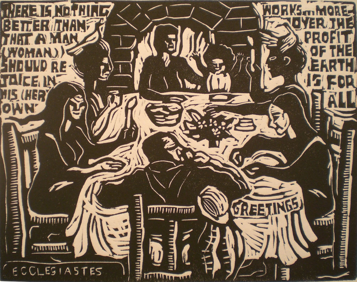 Ecclesiastes, Profit of the Earth is for All – Shared Dinner , print, 11x9, 10 of 25  Pathways Original Print Collection
