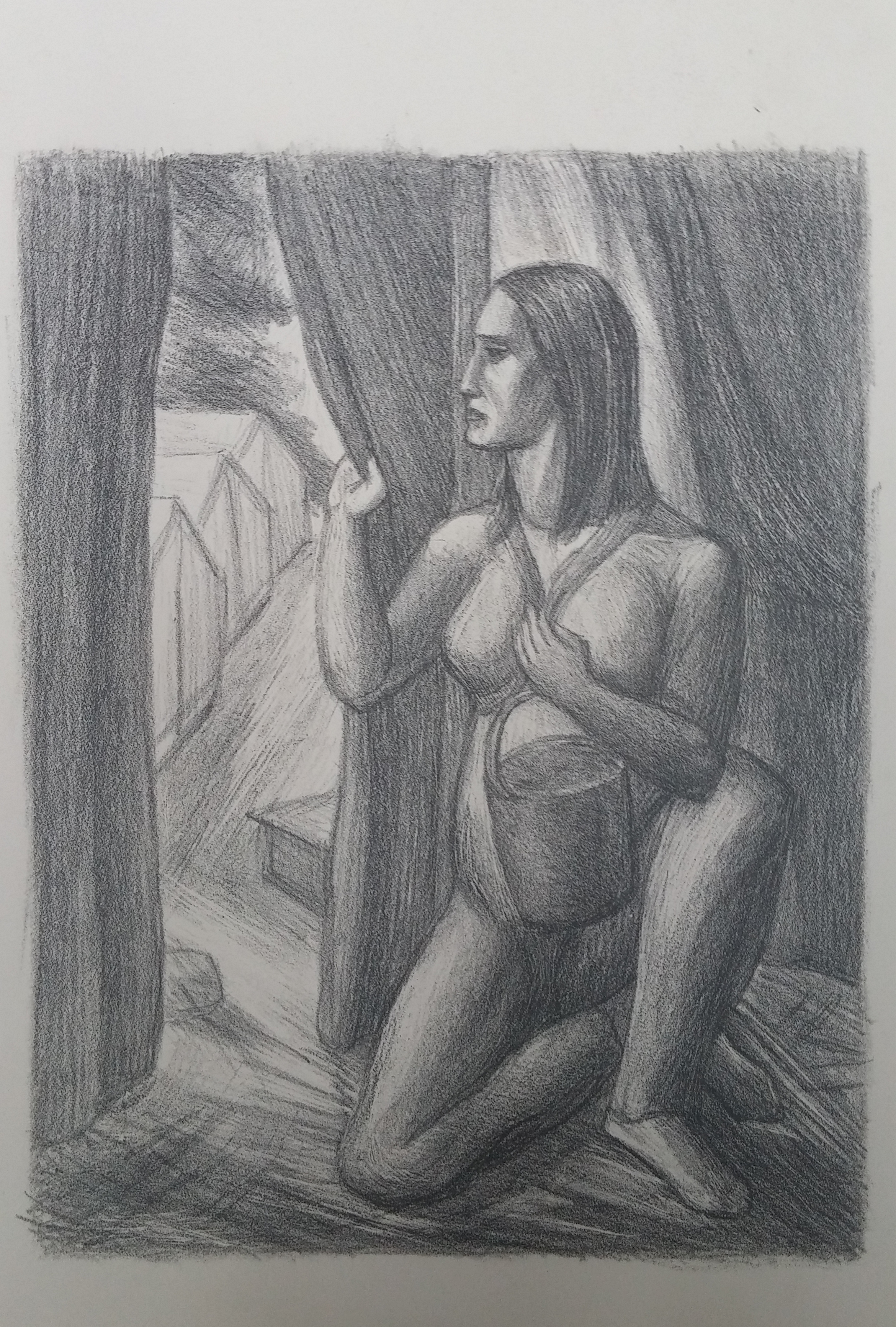 Woman in Labor Camp , print, 15 x 17 unframed  P athways Private Collection