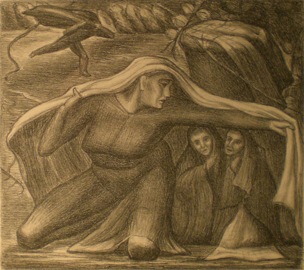 Woman shielding Children,  print, 17x16  Pathways Private Collection
