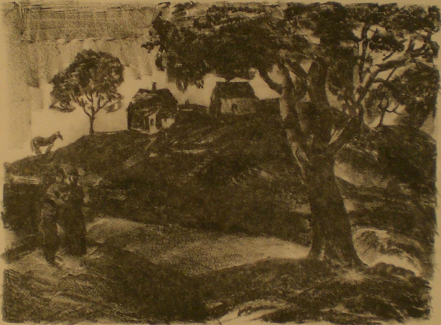 Hillside Homes , print, 17 ¾ x 15 ¾  Pathways Original Print Collection