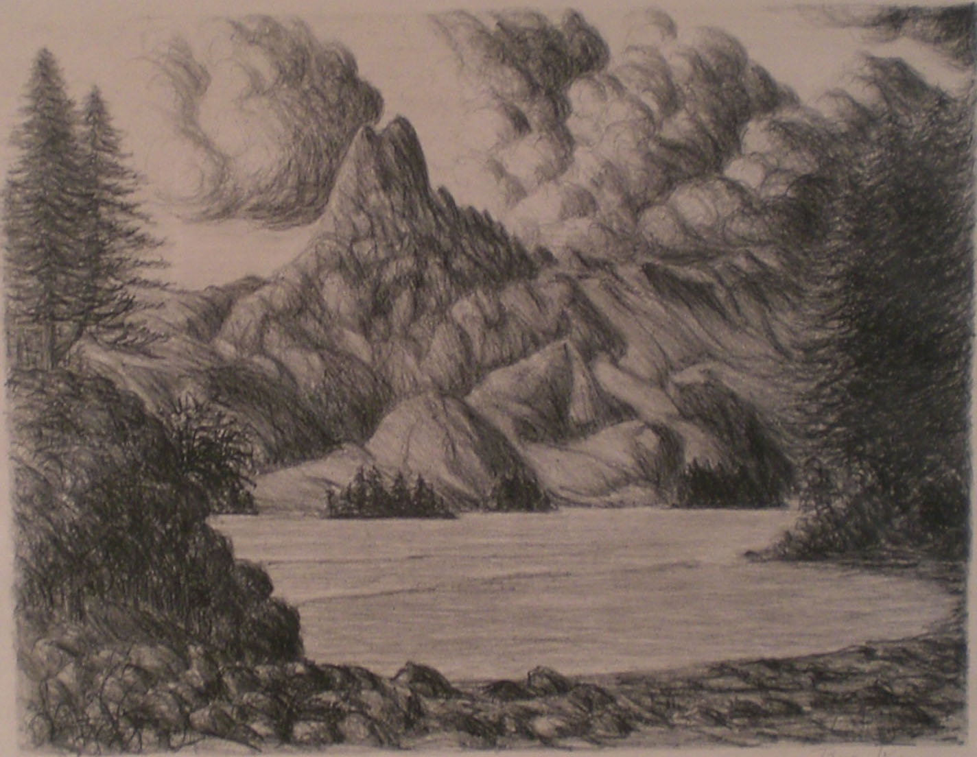 Mountains , print, 18 x 15  Pathways Original Print Collection