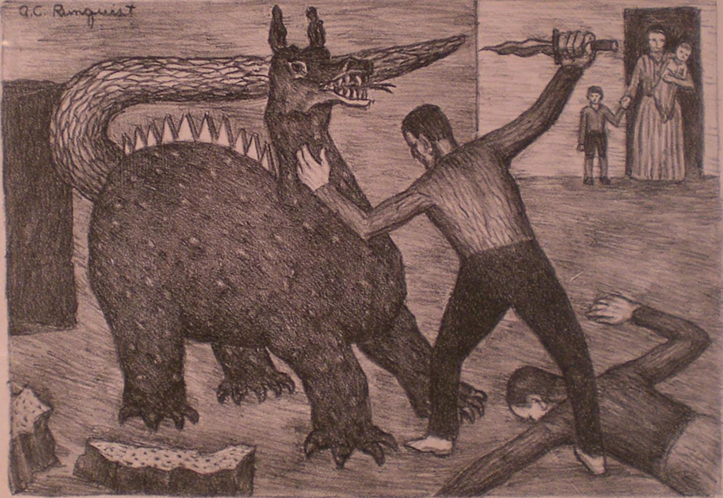 Man Fighting Dragon , print, 14 x 18  Pathways Original Print Collection