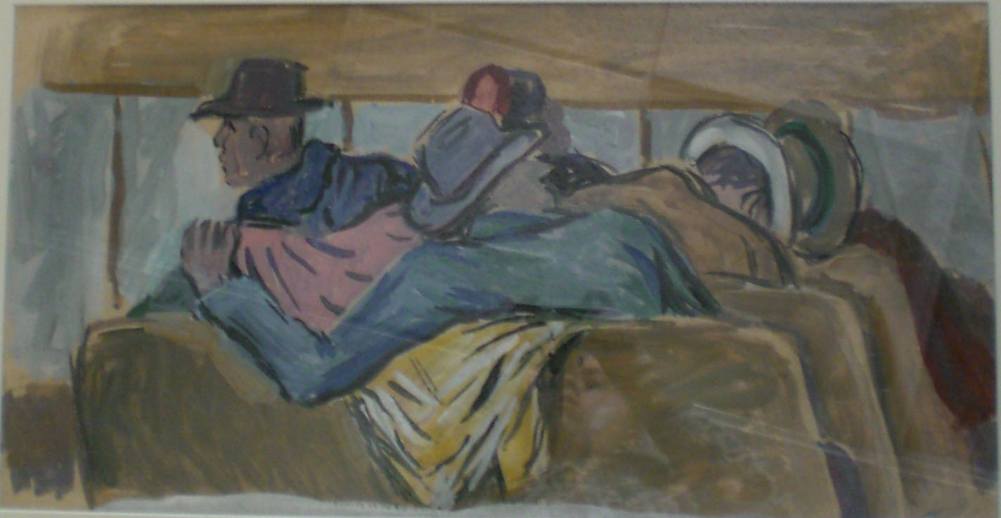 Men on Bus , water color, 32x22  Pathways Private Collection