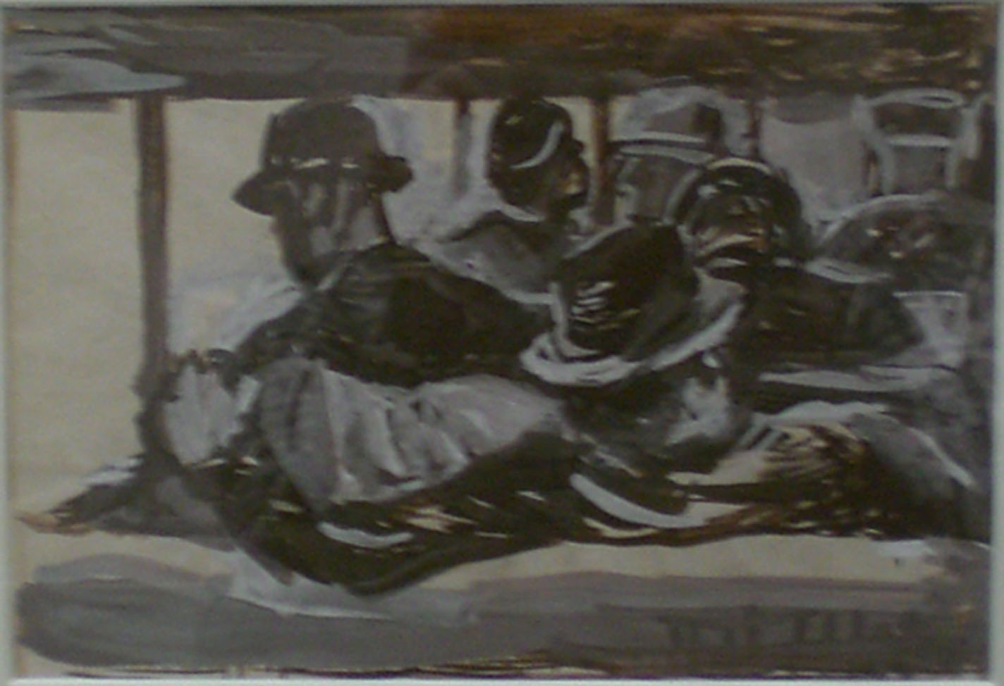 Men on Bus , study, 17x14  Pathways Private Collection