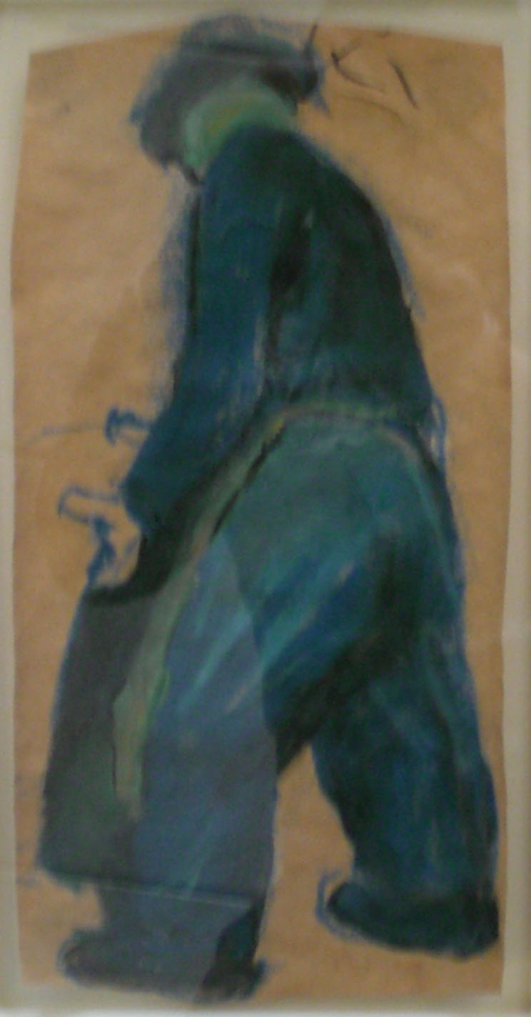Shipyard Worker,  blue chalk, 12x17   Pathways Private Collection