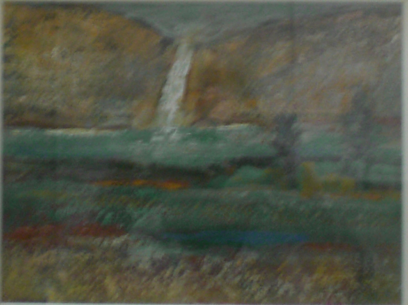 Waterfall in Columbia Gorge,  oil, 17x15 $2,500  Charles Haney