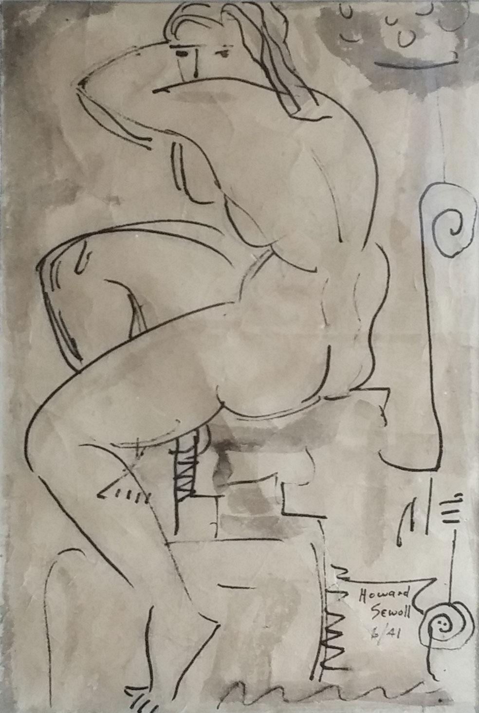 Nude figure,  water color sketch, 10x14 $2,500  Howard Sewall