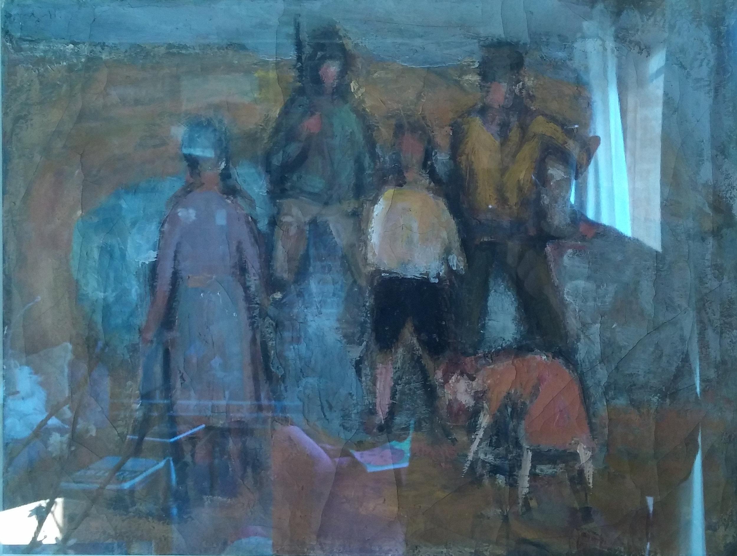 Clam Diggers , oil, 12x18 NFS  Arthur Runquist