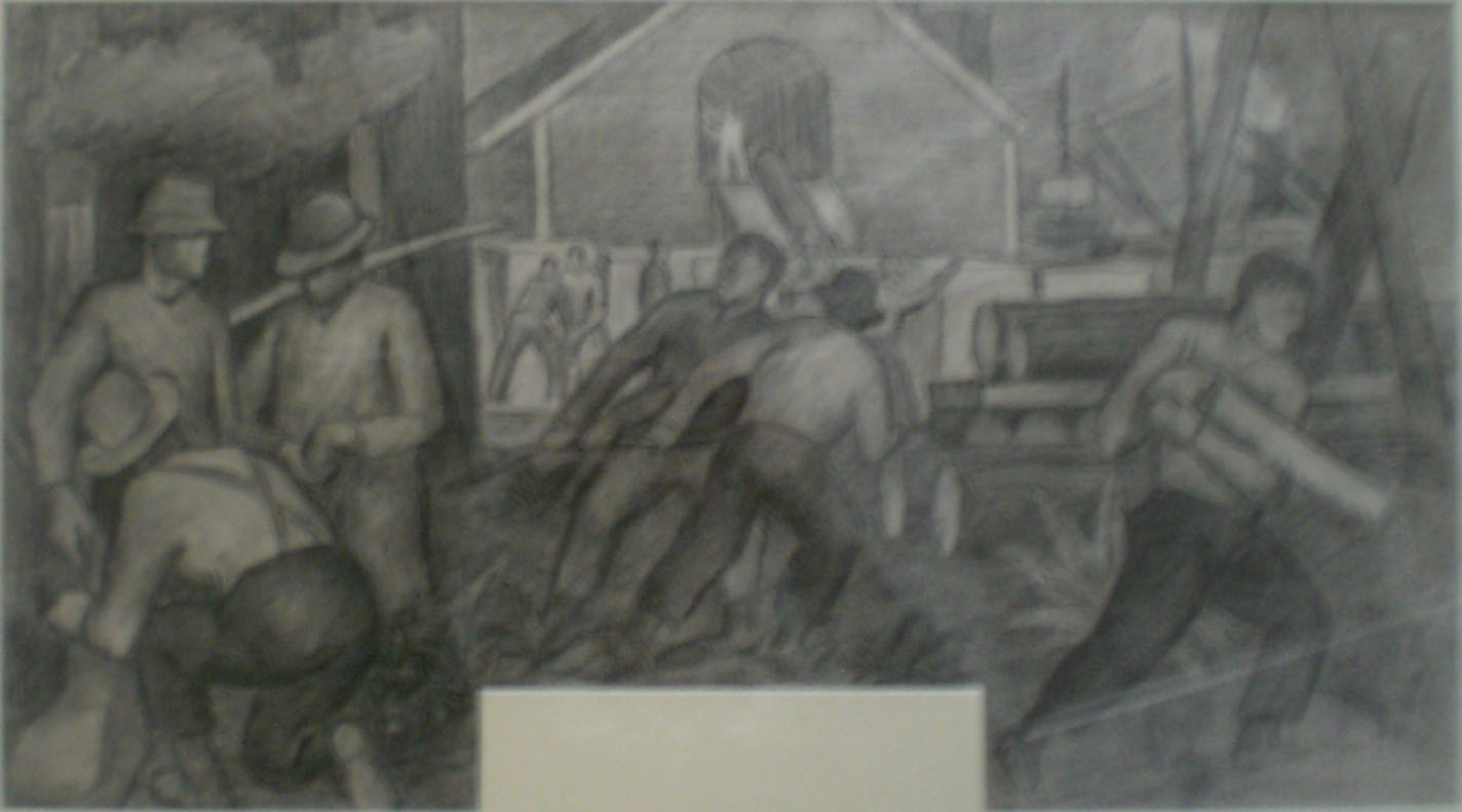 Mill Workers Cedro Wooley – mural study I,  32x22  Arthur Runquist $2,000