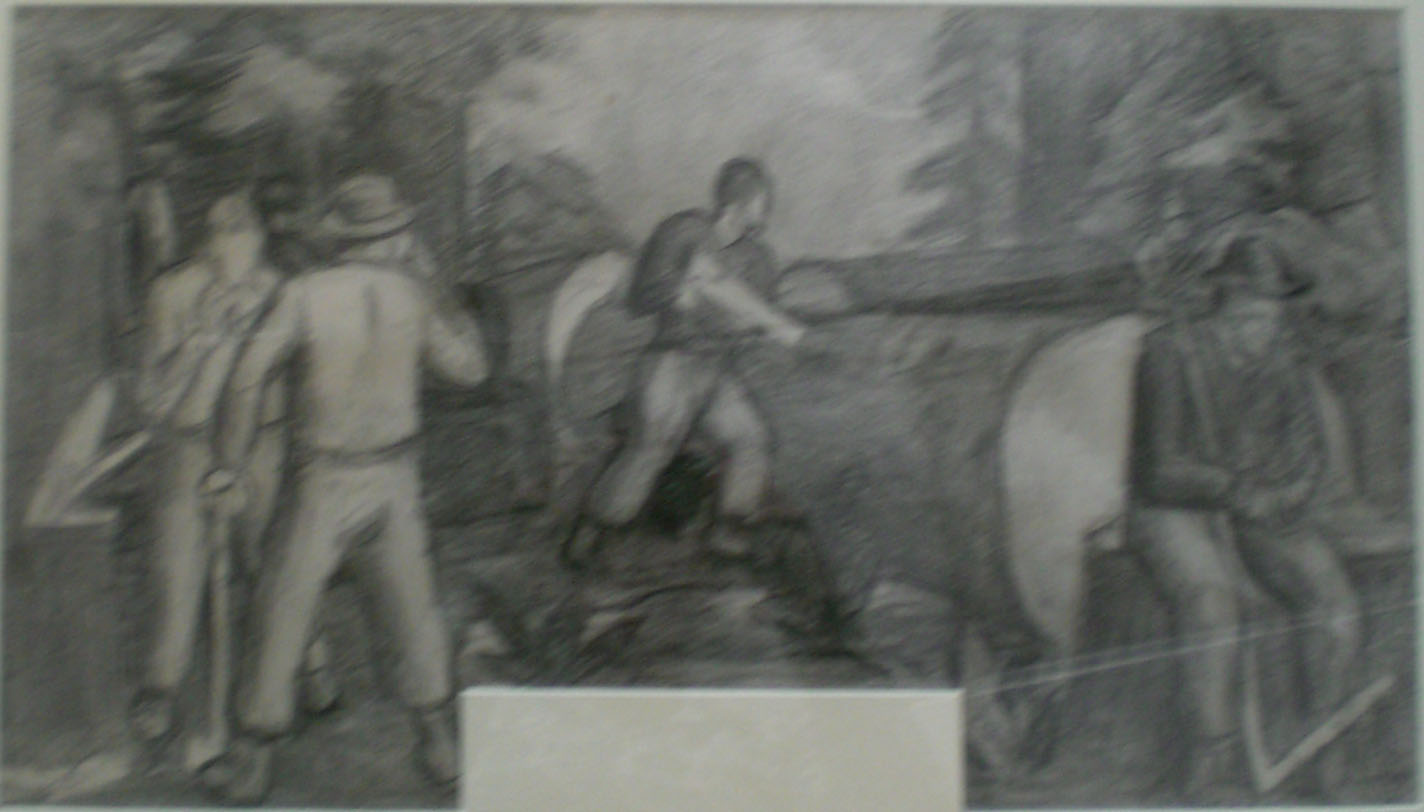 Mill Workers Cedro Wooley – mural study II,  32x22 $2,000  Arthur Runquist