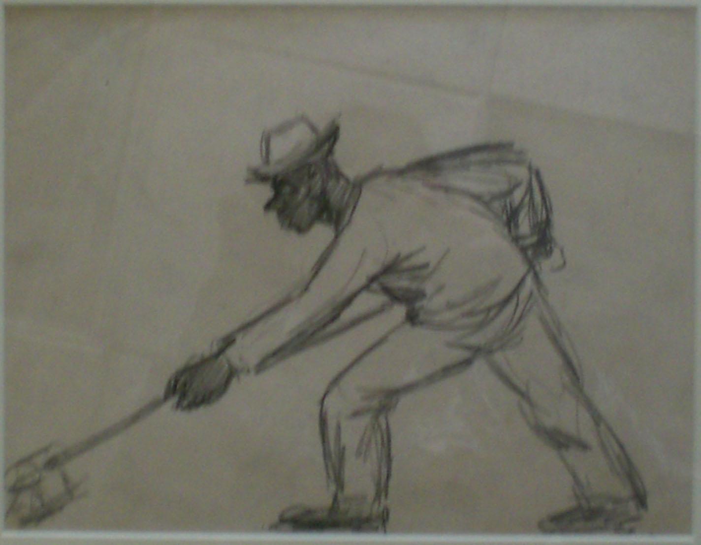 Shipyard Worker II,  pencil sketch, 14x17 $450  Arthur Runquist