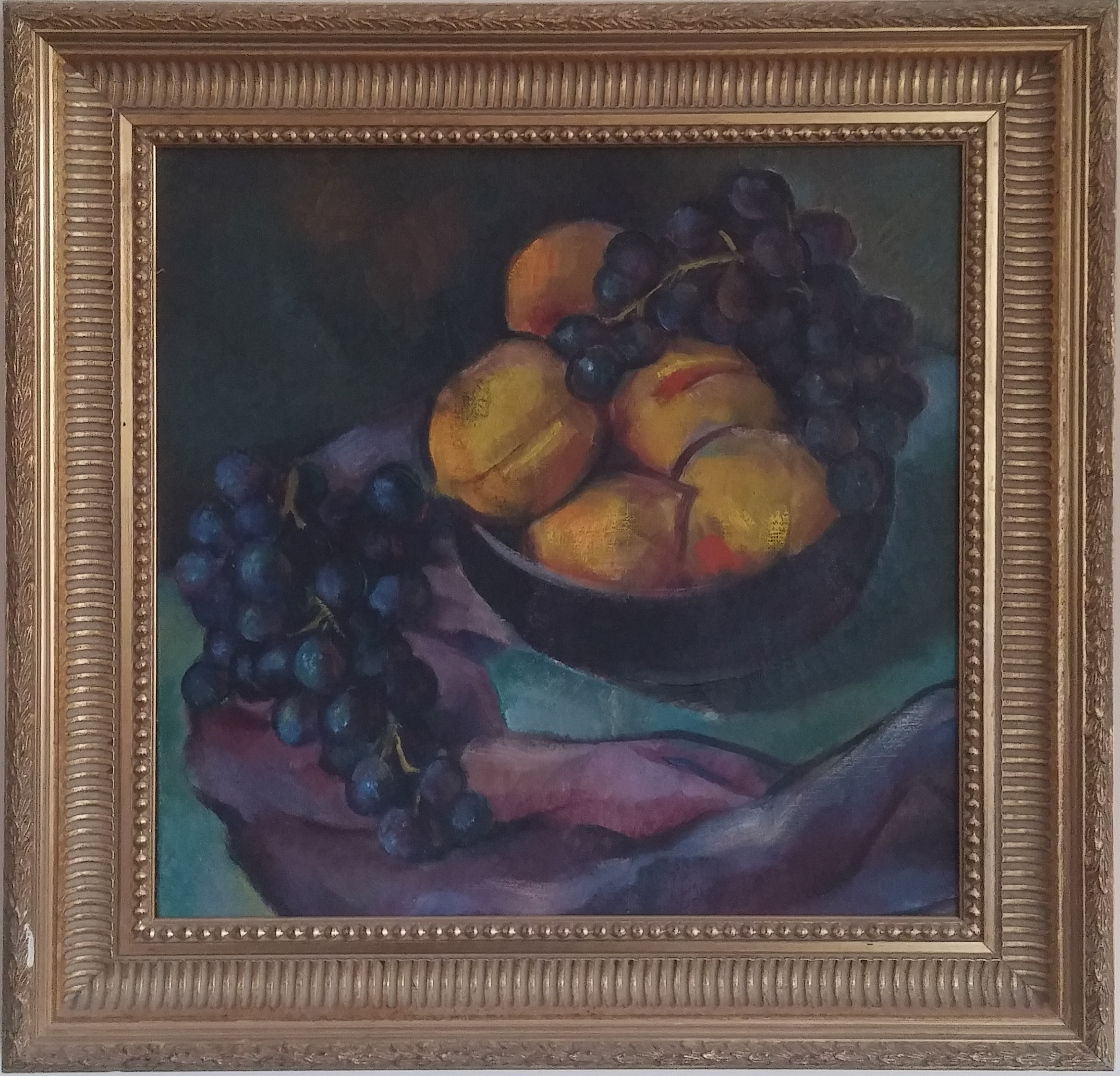 Still Life with Fruit,  oil, 21x21 $3,500  Ann Michalov