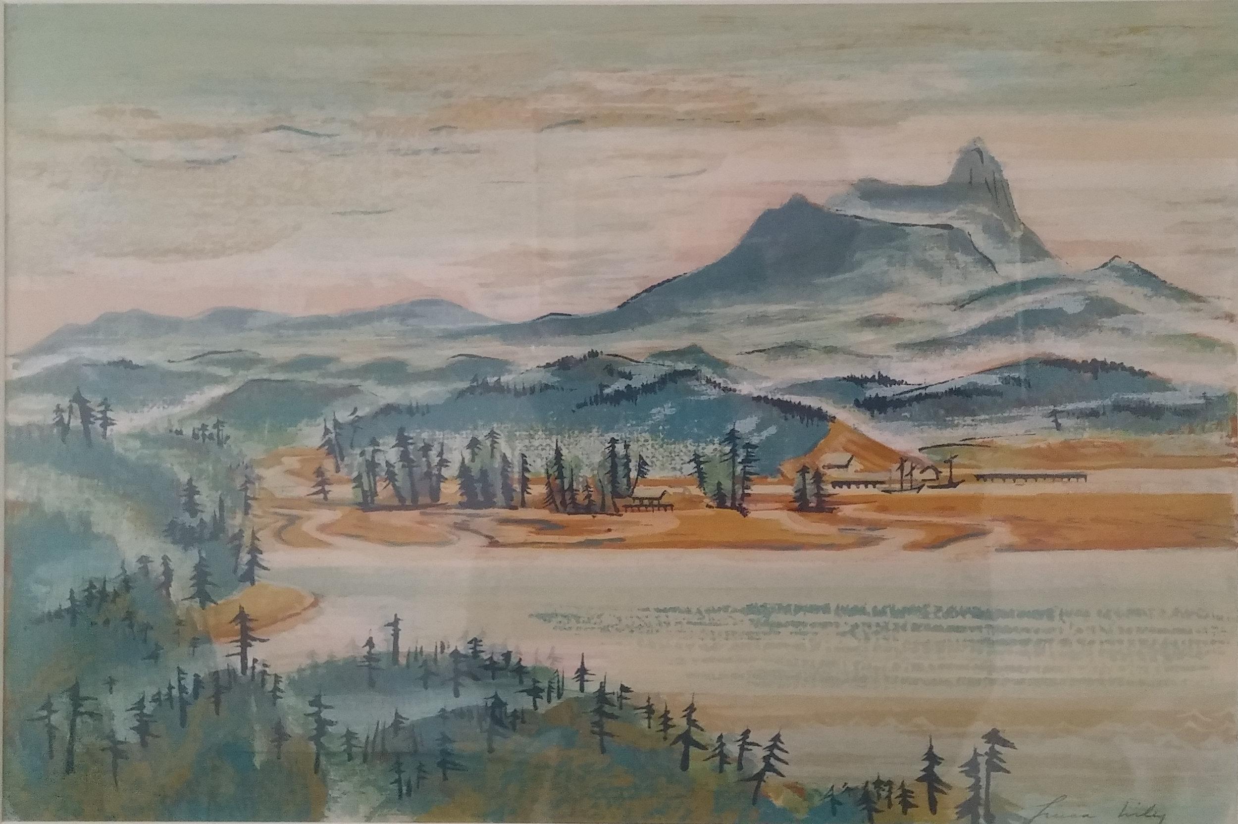 Neahkanie Bay,  gouache, 26x28 $3,500  Lucia Wiley