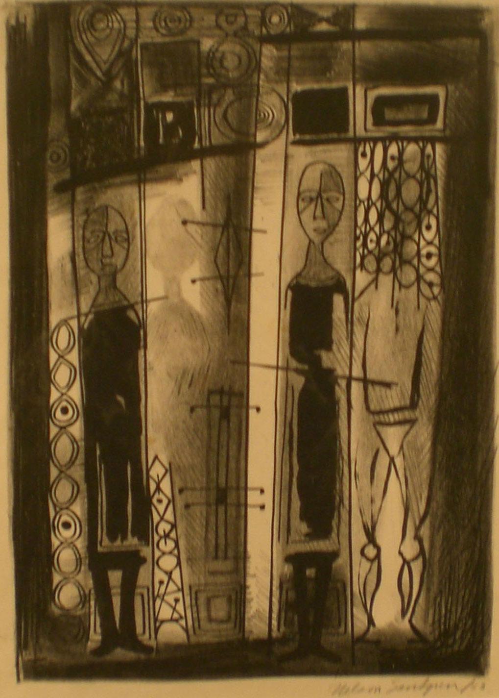 Two People , 18 ¾ x 15 ½  Nelson Sandgren