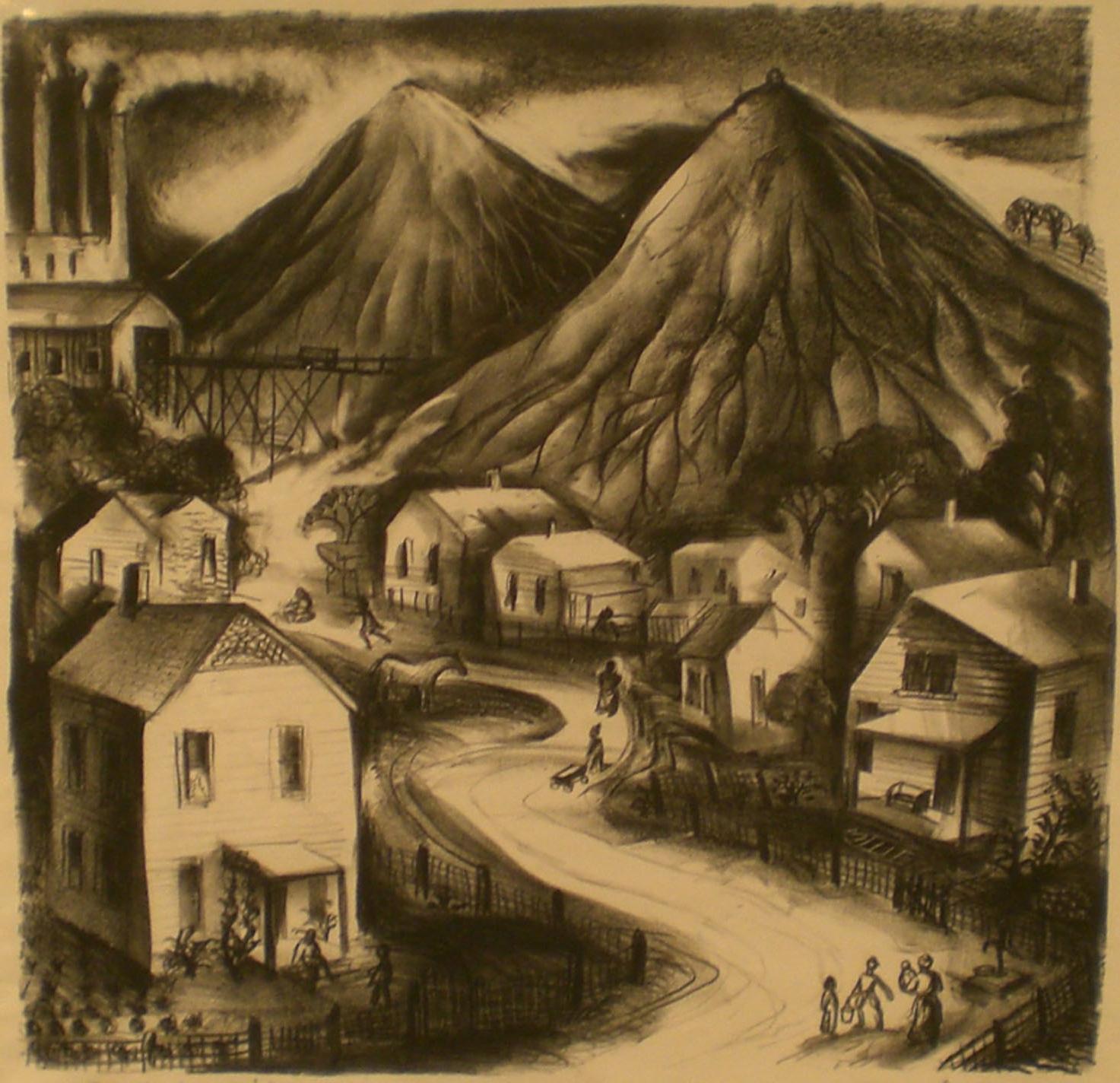 Mining Village, 18 ½ x 18 ½  Anne Michalov