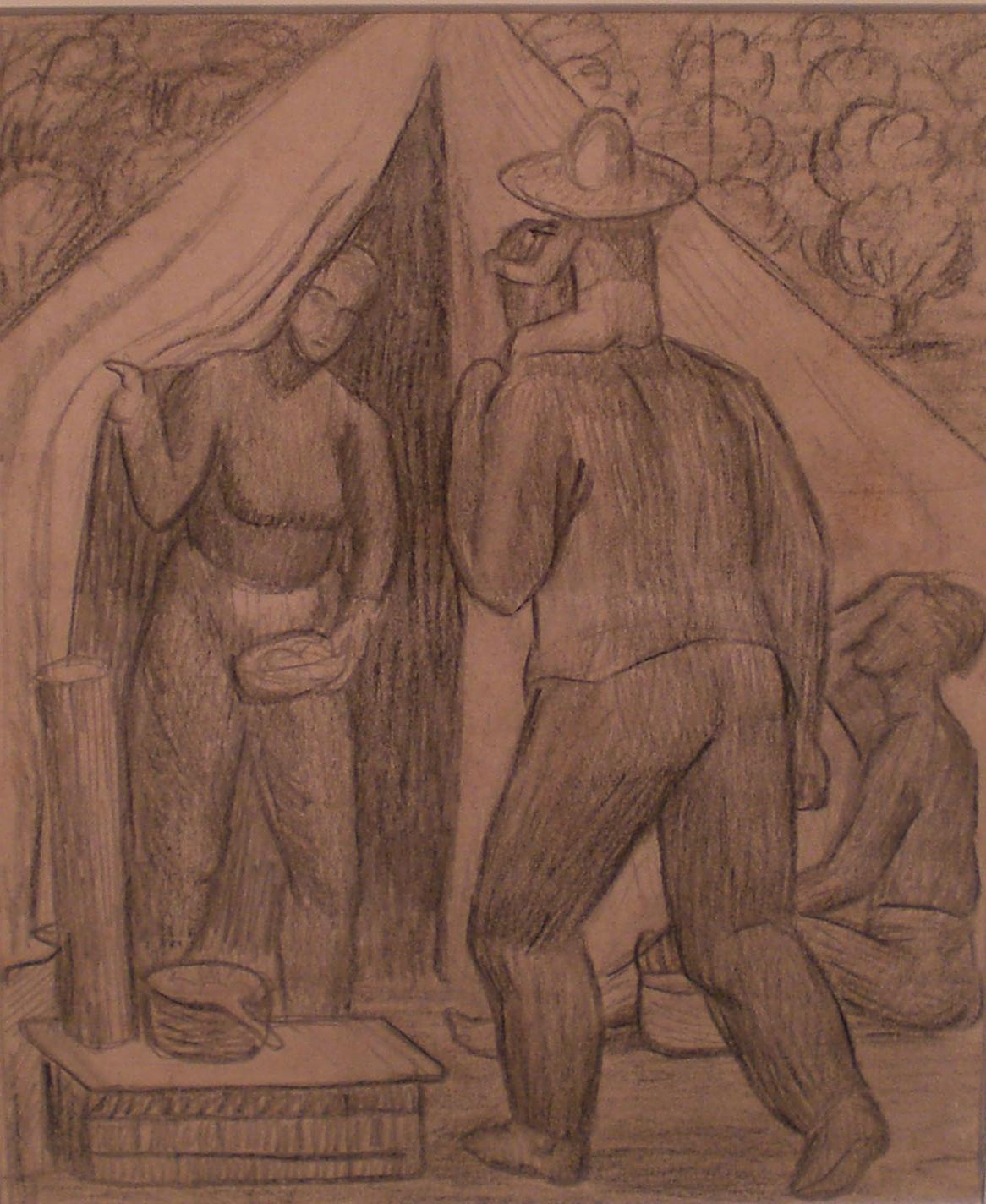 Migrant Labor Camp , 15 ½ x 13 ½  Martina Gangle Curl