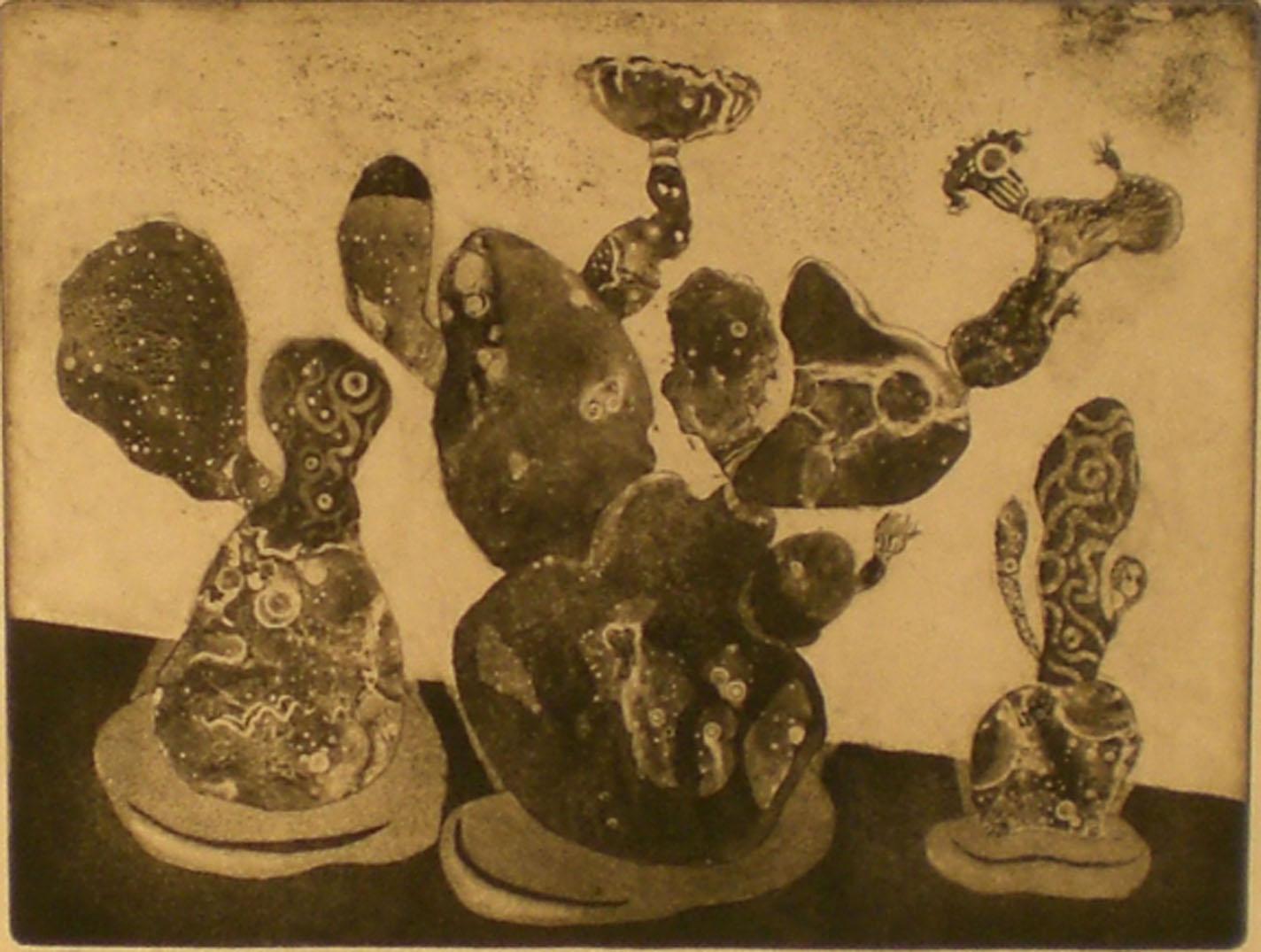 Three Cacti , 20 ¾ x 18  Pathways Original Print Collection