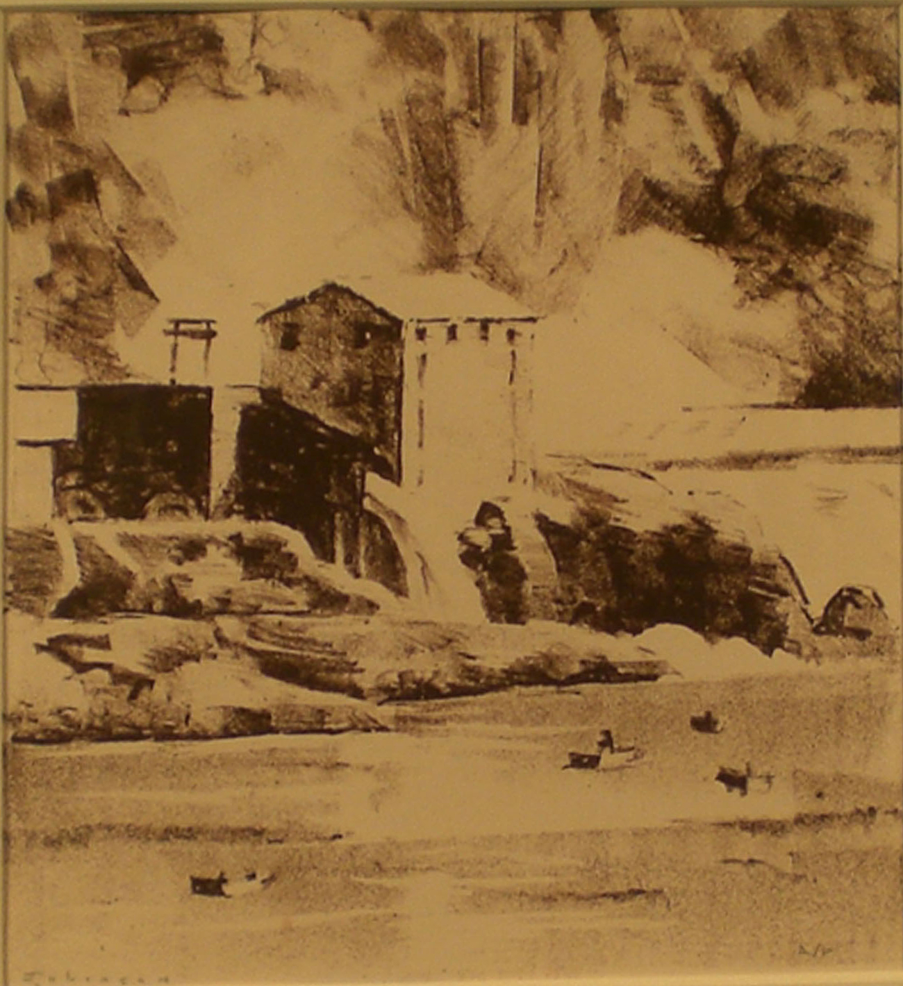 Mill at Oregon City , print, 14 x 14  Pathways Original Print Collection