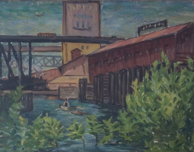 Willamette River,  oil, 20x17 $2,500  Albert C Runquist