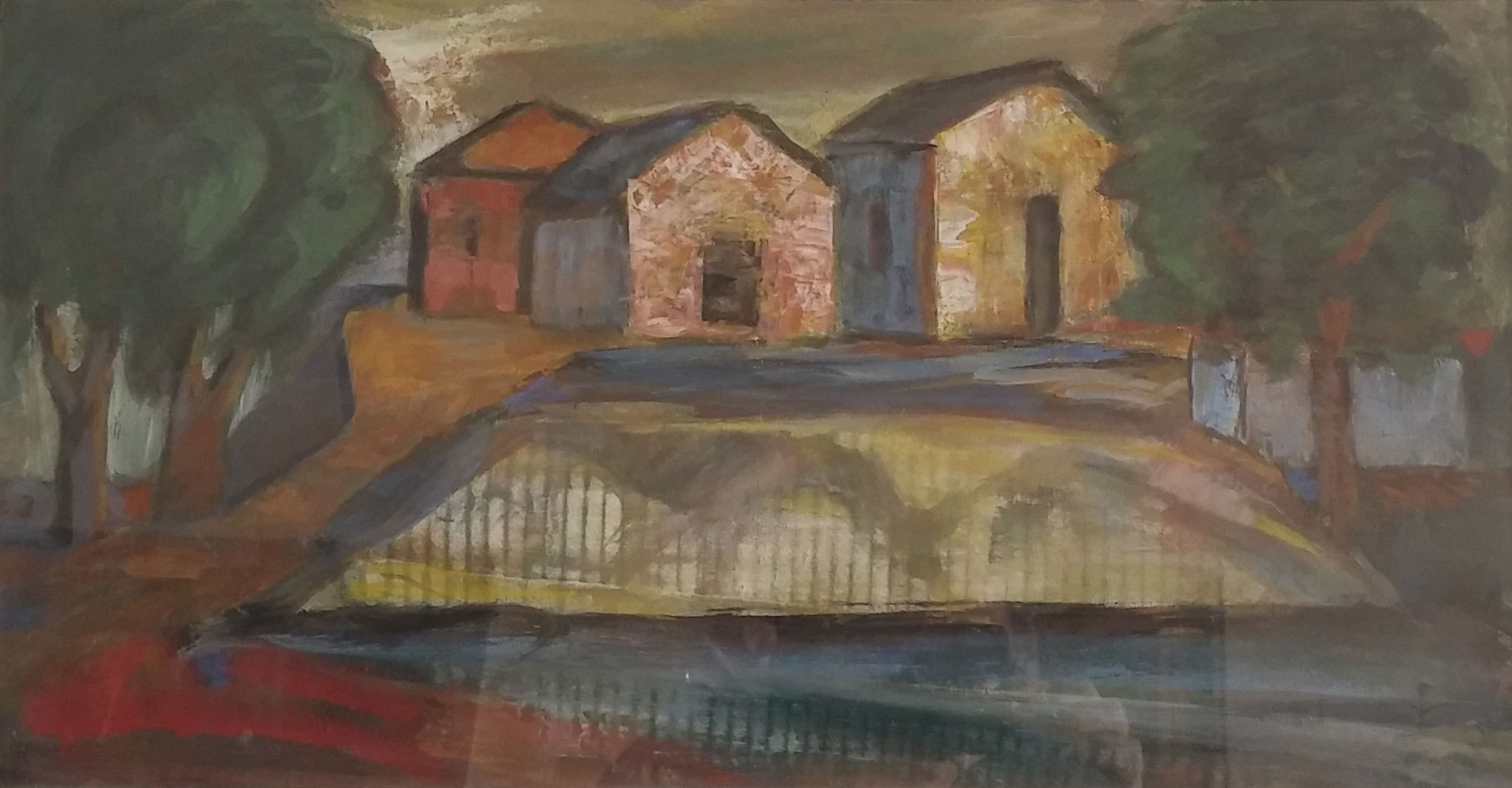 Three Cabins , water color, 22x18  Pathways Private Collection