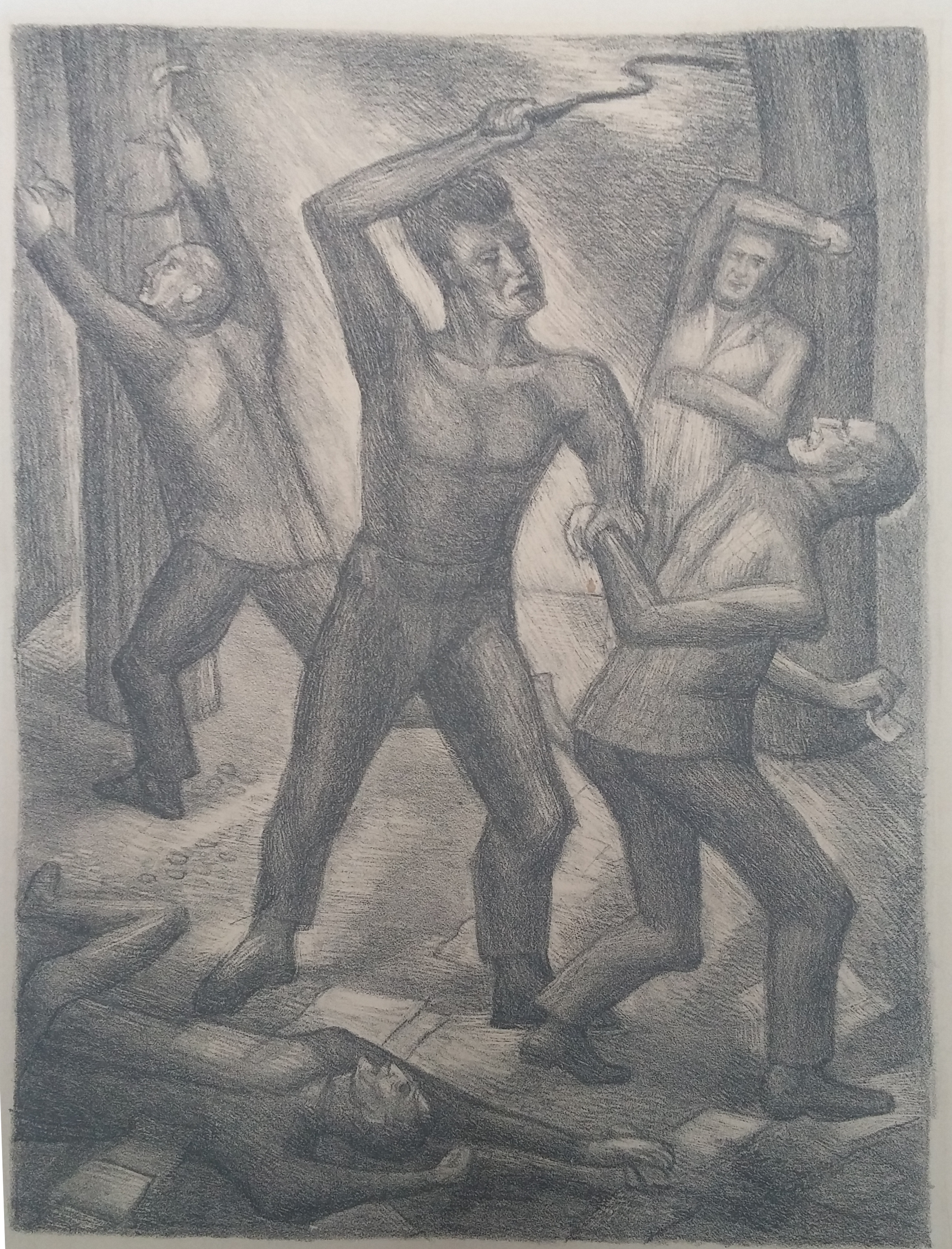 A Lashing of Workers , print 16 x 18 (signed) $150  Martina Gangle Curl